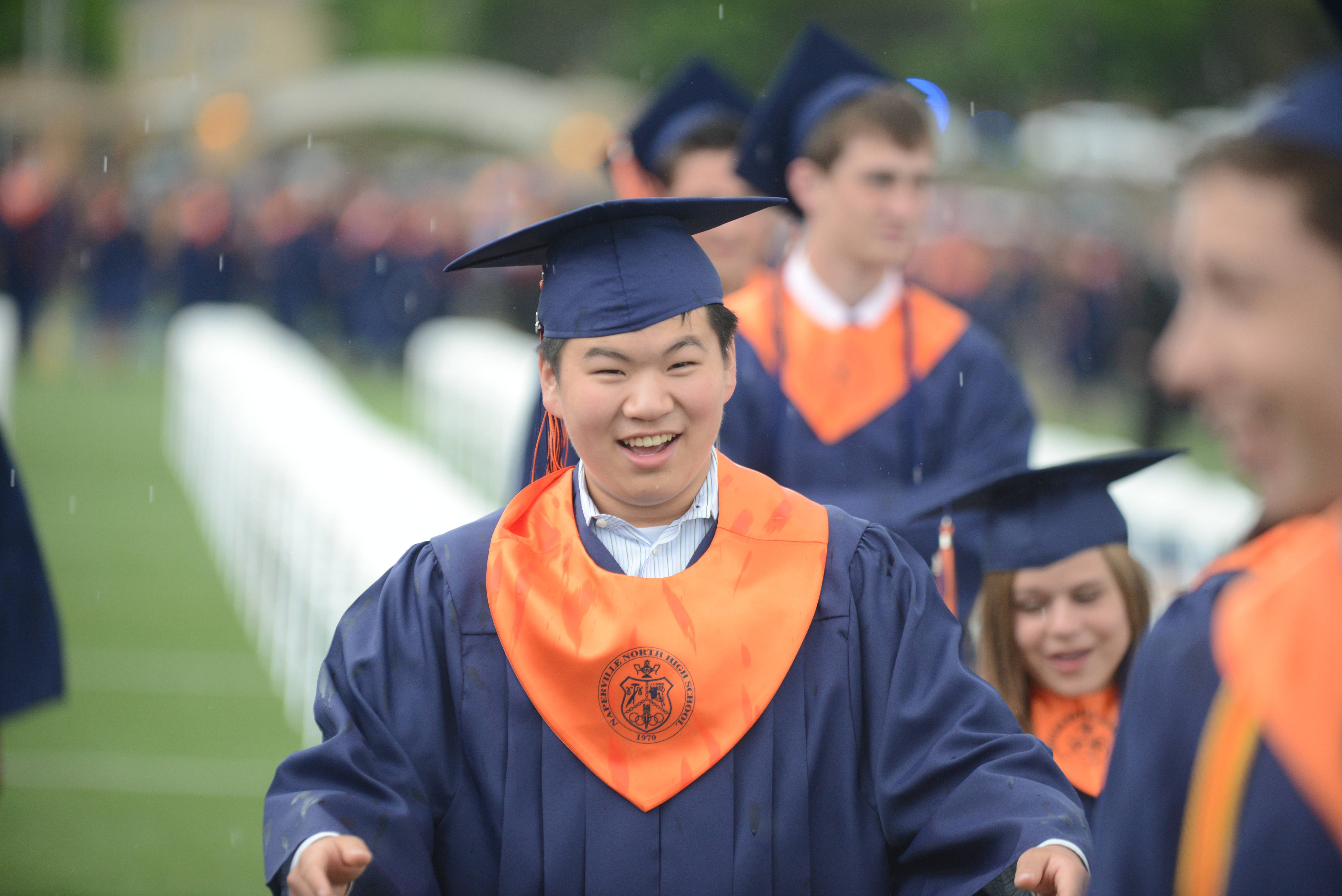 Naperville North High School started to hold its graduation Tuesday, May 27 at the school's football field, but lightning and rain intervened. The rest of the Tuesday ceremony was cancelled and moved to Wednesday, May 28.