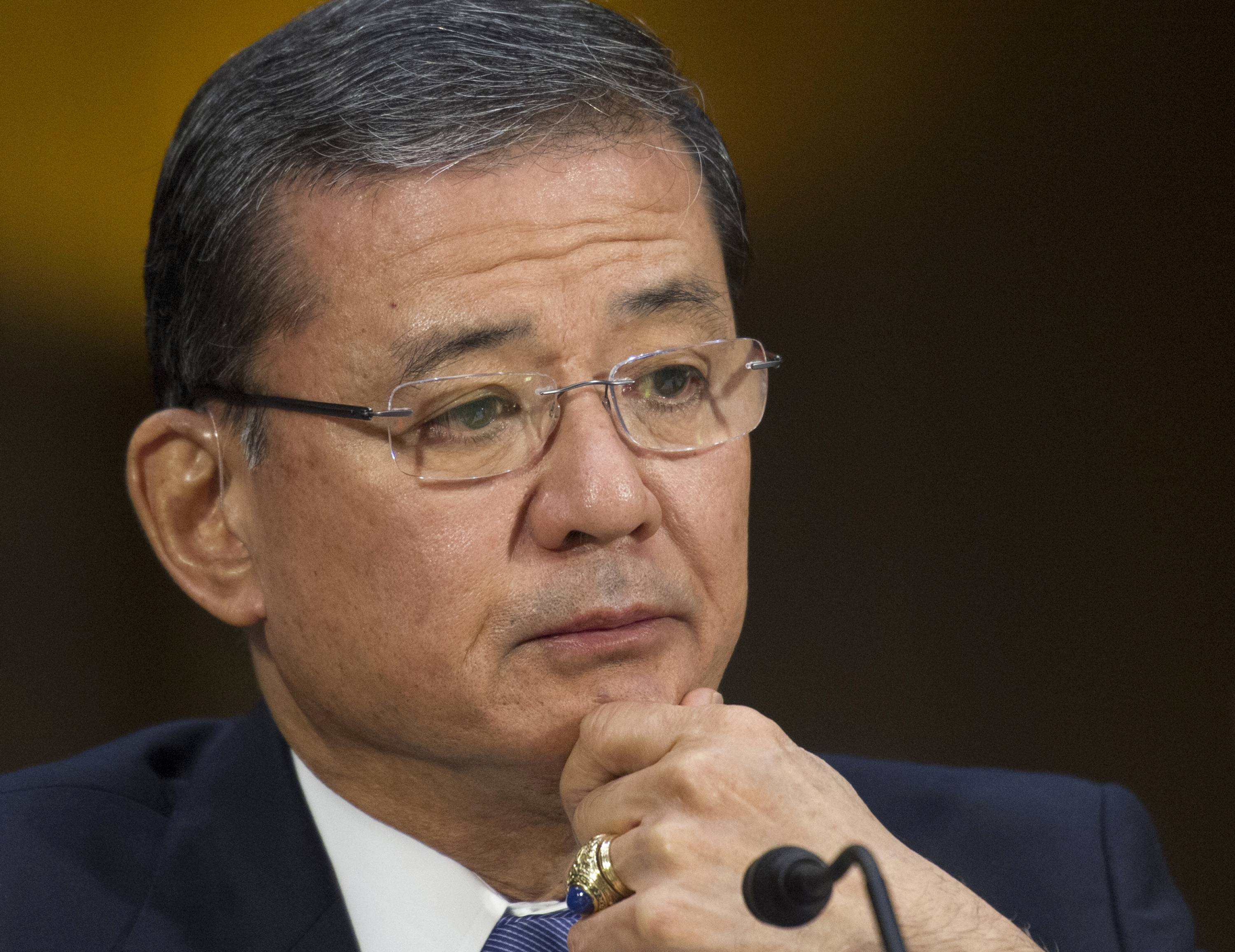 Veterans Affairs Secretary Eric Shinseki is under increasing pressure from Capitol Hill to resign over shoddy care at VA hospitals.