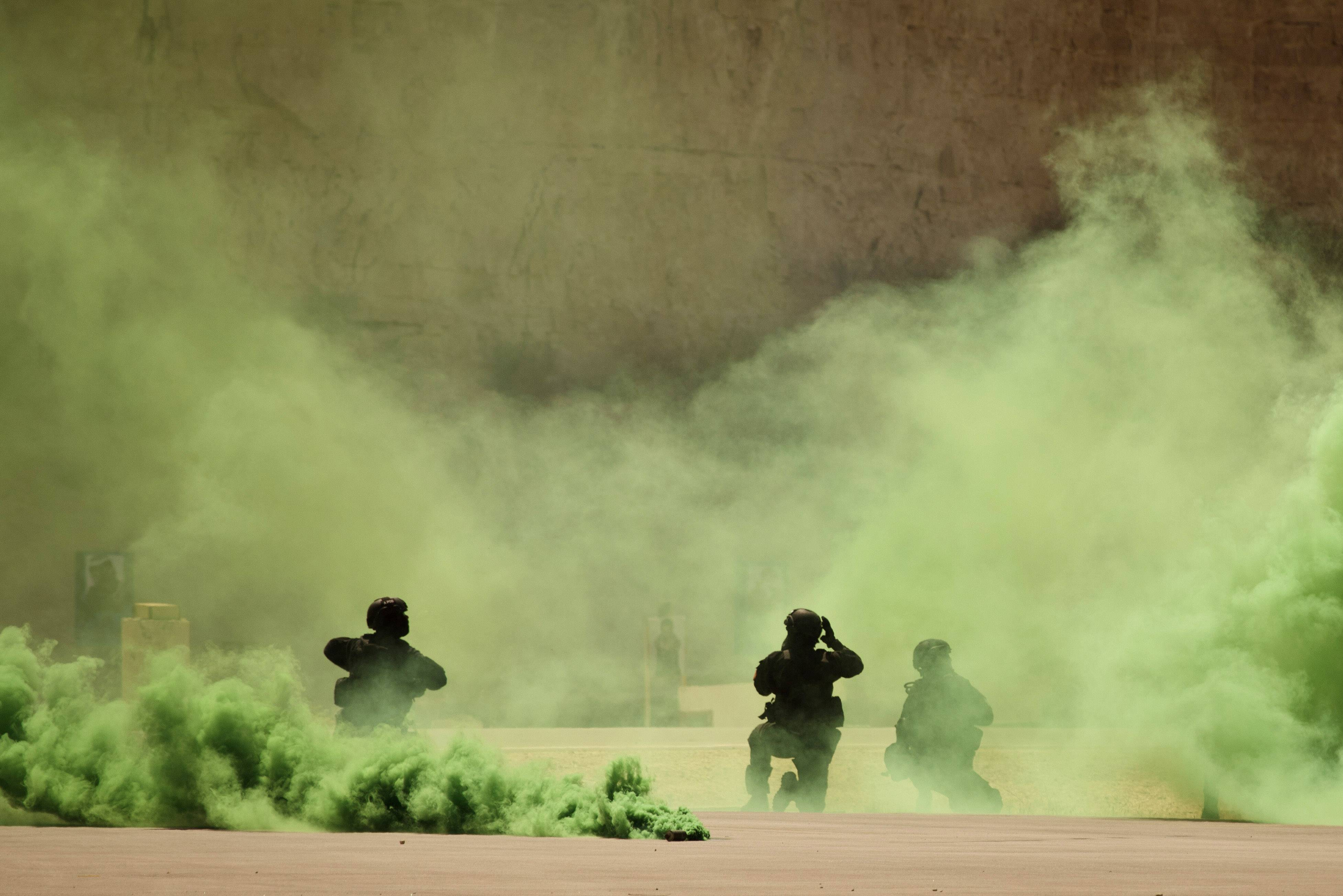 Soldiers participate in a combined special operations demonstration with commandos from Jordan, Iraq and the U.S. as part of Eager Lion multinational military maneuvers, at the King Abdullah Special Operations Training Center in Jordan on June 20, 2013.