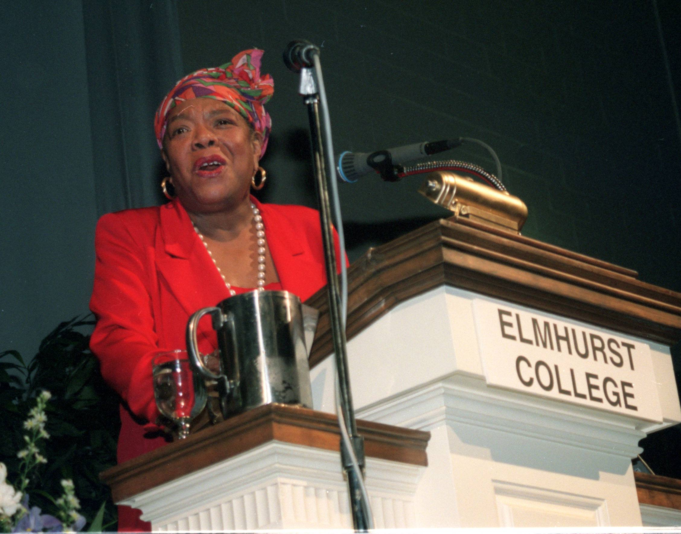 Maya Angelou speaks at Elmhurst College on February 11, 1996. She spoke at the college as part of the Martin Luther King Jr. Guest ship series.