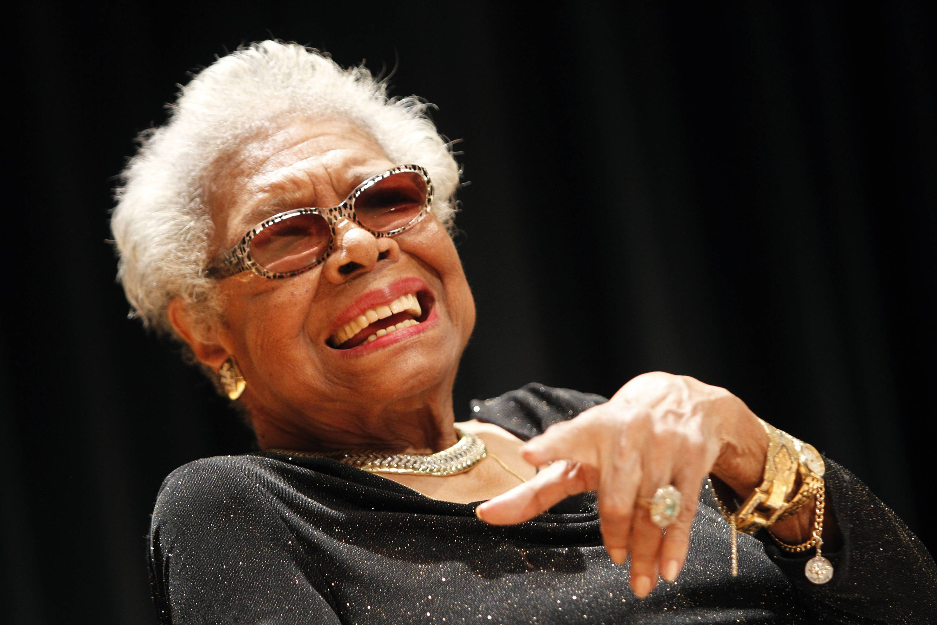 Maya Angelou answers questions at her portrait unveiling at the Smithsonian's National Portrait Gallery on Saturday, April 5, 2014 in Washington, DC.