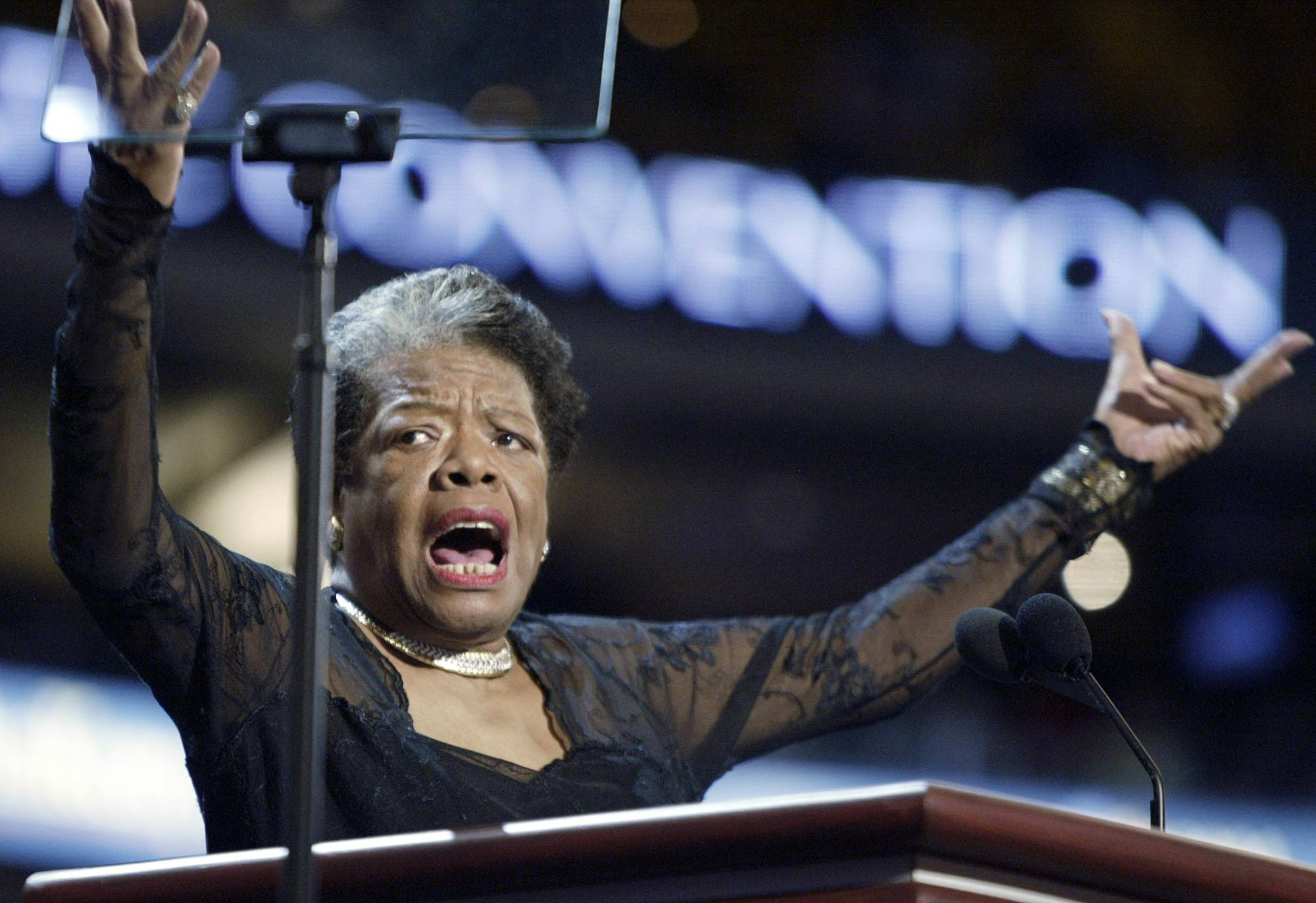 Maya Angelou speaks onstage during the Democratic National Convention, in Boston. Angelou, a Renaissance woman and cultural pioneer, has died, Wake Forest University said in a statement Wednesday, May 28, 2014. She was 86.