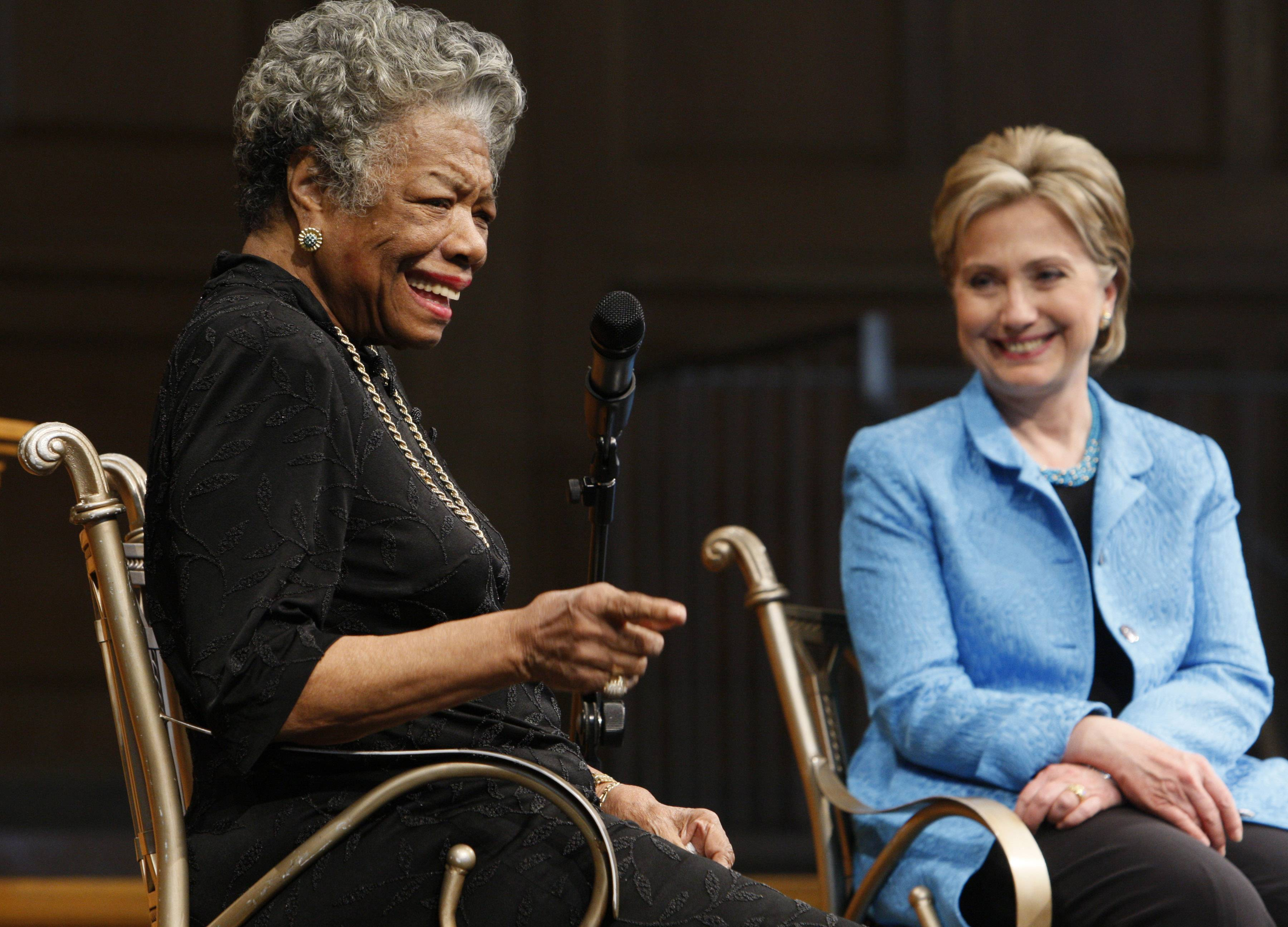 Democratic presidential hopeful, Sen. Hillary Rodham Clinton, D-N.Y., campaigns with author Maya Angelou at Wake Forest University in Winston-Salem, N.C., Friday, April 18, 2008.