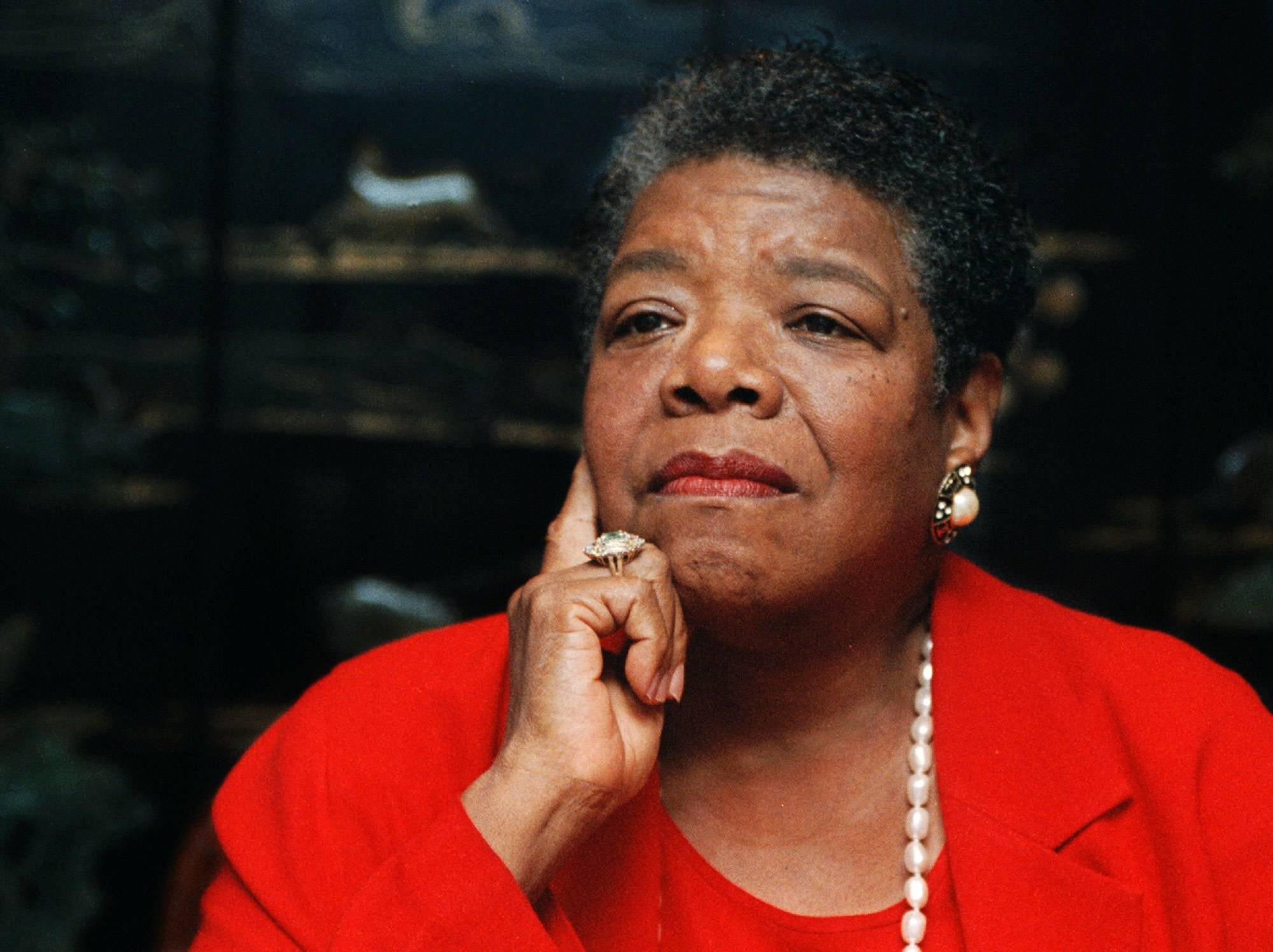Maya Angelou, poet in residence at Wake Forest University, talks about the poem she wrote for President Clinton's inauguration from her office in Winston-Salem, N.C., Sept. 16, 1996. Angelou will narrate the poem to music Saturday at the school.