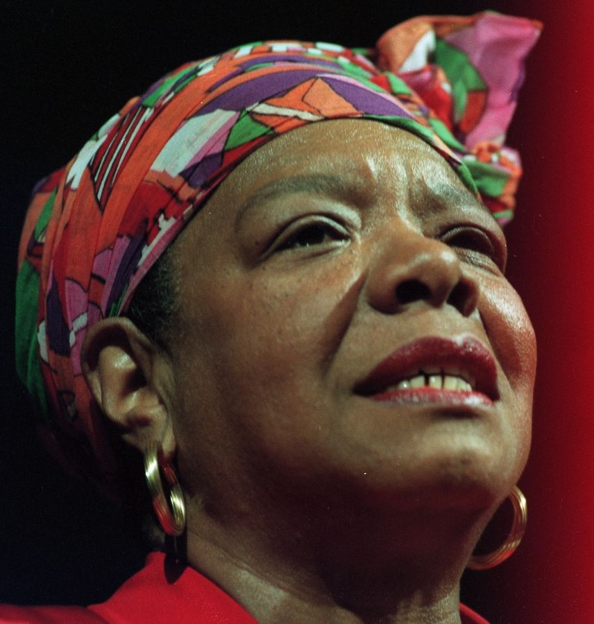 Maya Angelou speaks at Elmhurst College in February. 1996. She spoke at the college as part of the Martin Luther King Jr. Guestship series.