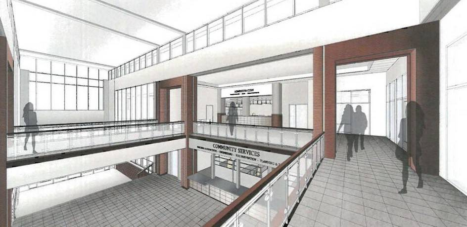 The proposed main lobby of the renovated Palatine Village Hall is shown in this rendering made by Wold Architects and Engineers. This rendering imagines what the lobby would look like from the second floor in front of the light well that allows natural light to illuminate the main floor.