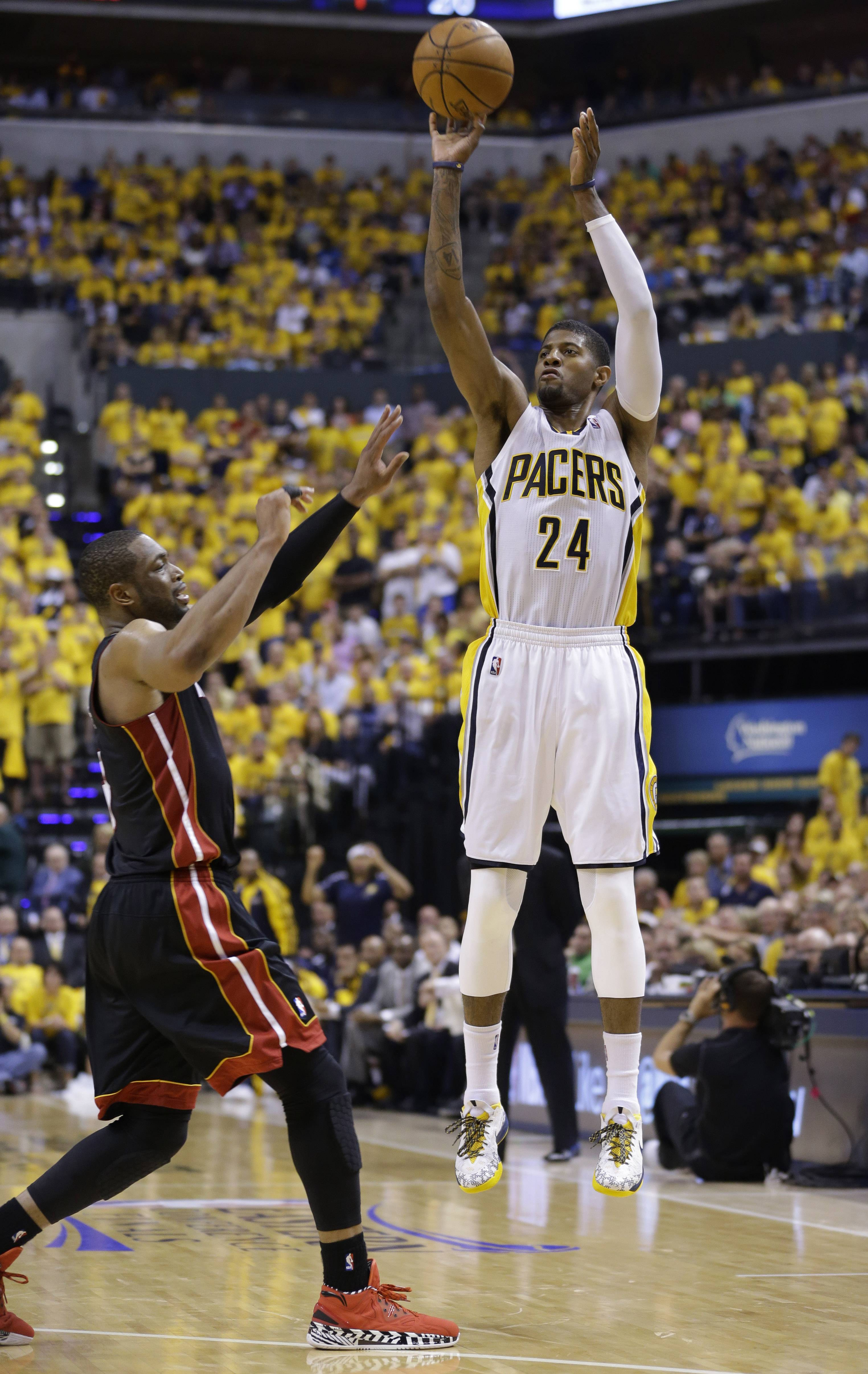 Paul George scored 31 of his 37 points in the second half Wednesday night and almost single-handedly kept the Indiana Pacers alive in the Eastern Conference finals with a 93-90 victory over the Miami Heat.
