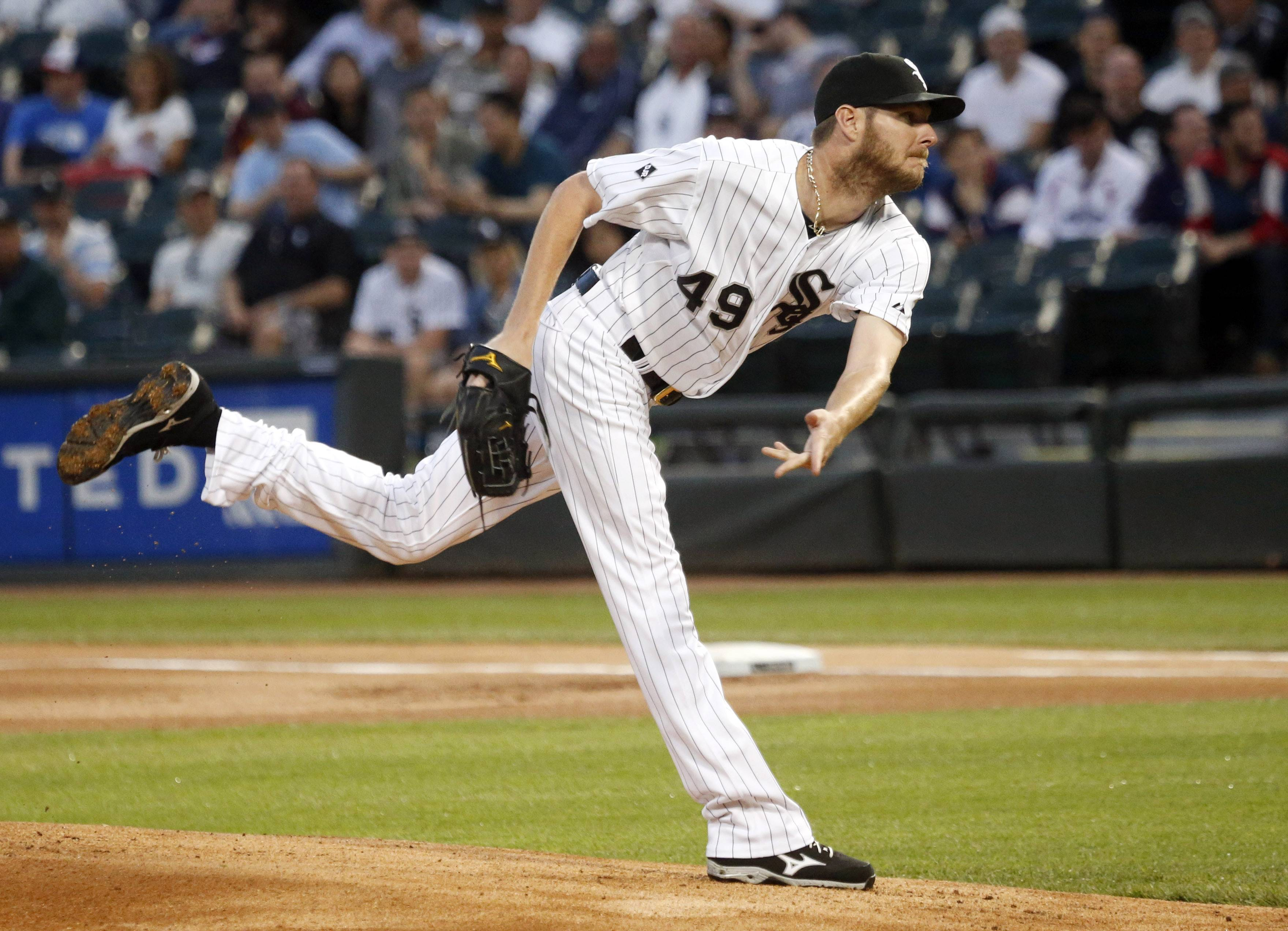 Chicago White Sox starting pitcher Chris Sale delivers during the first inning of a baseball game against the Cleveland Indians, Tuesday, May 27, 2014, in Chicago.