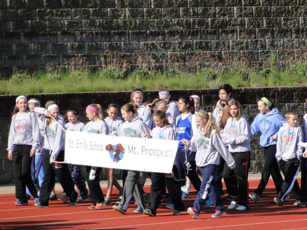St. Emily's track team at the State meet during the Parade of Athletes.