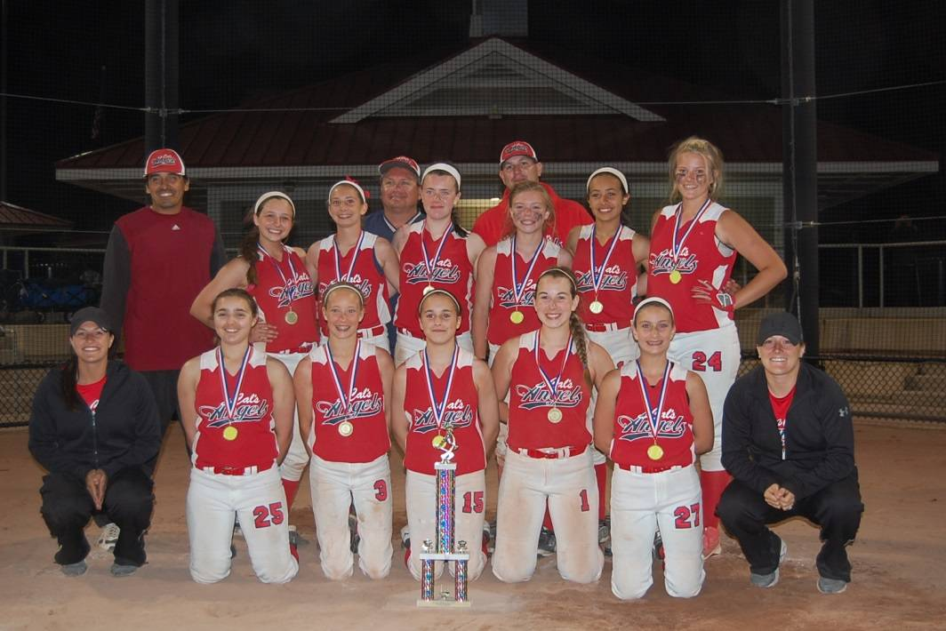 Cal's Angels 13-U softball team includes: first row, from left, coach Sydney Russel, Cate Poplar, Ally Suyak, Maddie Ebeling, Ali Cellini, Alana Macri, and coach Taylor Russel; and back row, coach Ramon Velazquez, Lu Latoria, Hannah Cozzi, coach Phil Latoria, Libby Zoppa, coach Chris Cellini, Maddy Stout, Gi Velazquez, and Janelle Ulaszek.