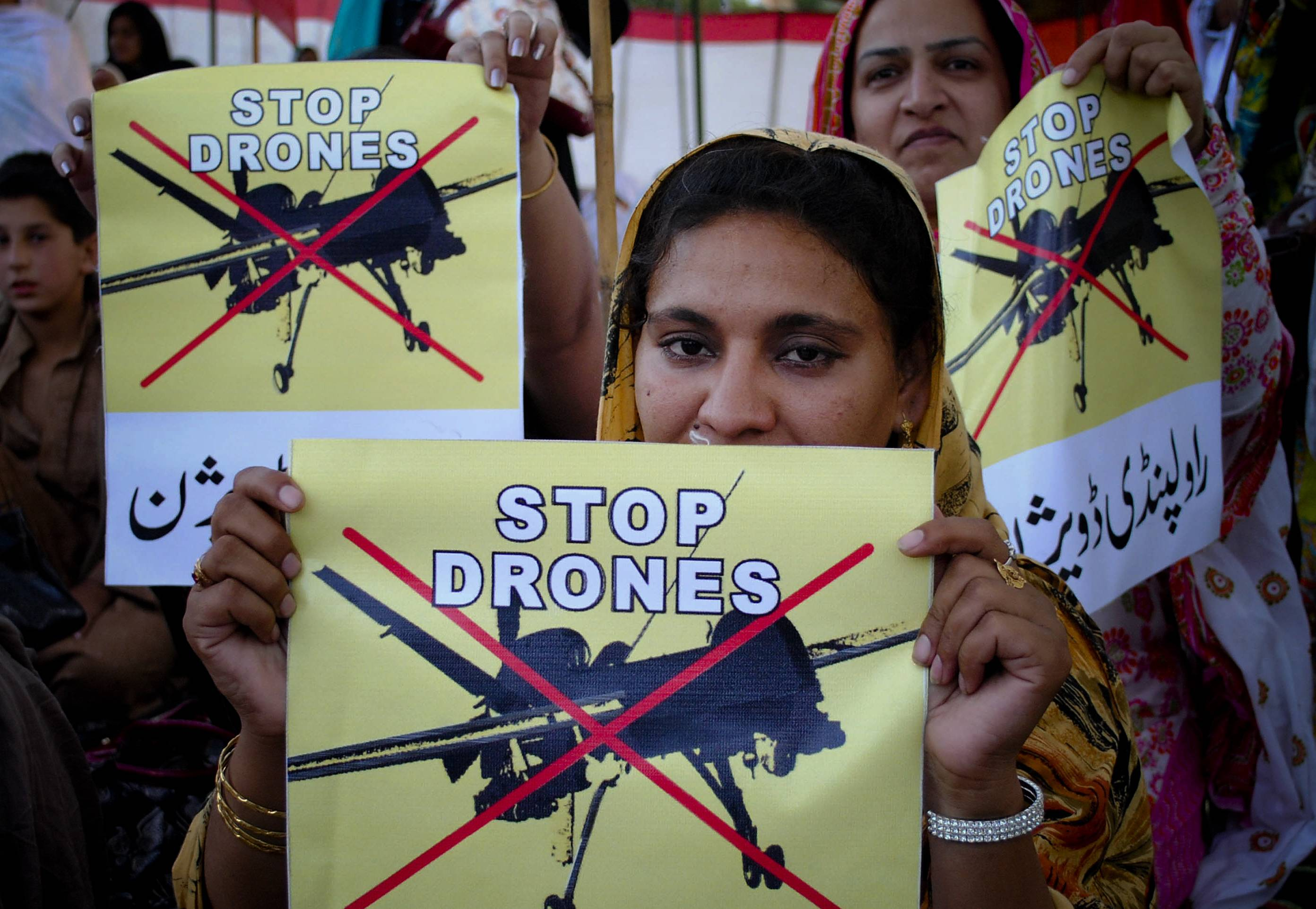 Women rally against the U.S. drone strikes in Pakistani tribal areas in Peshawar, Pakistan. The secret targeted killing program that once was the mainstay of President Barack Obama's counterterrorism effort appears to be winding down.