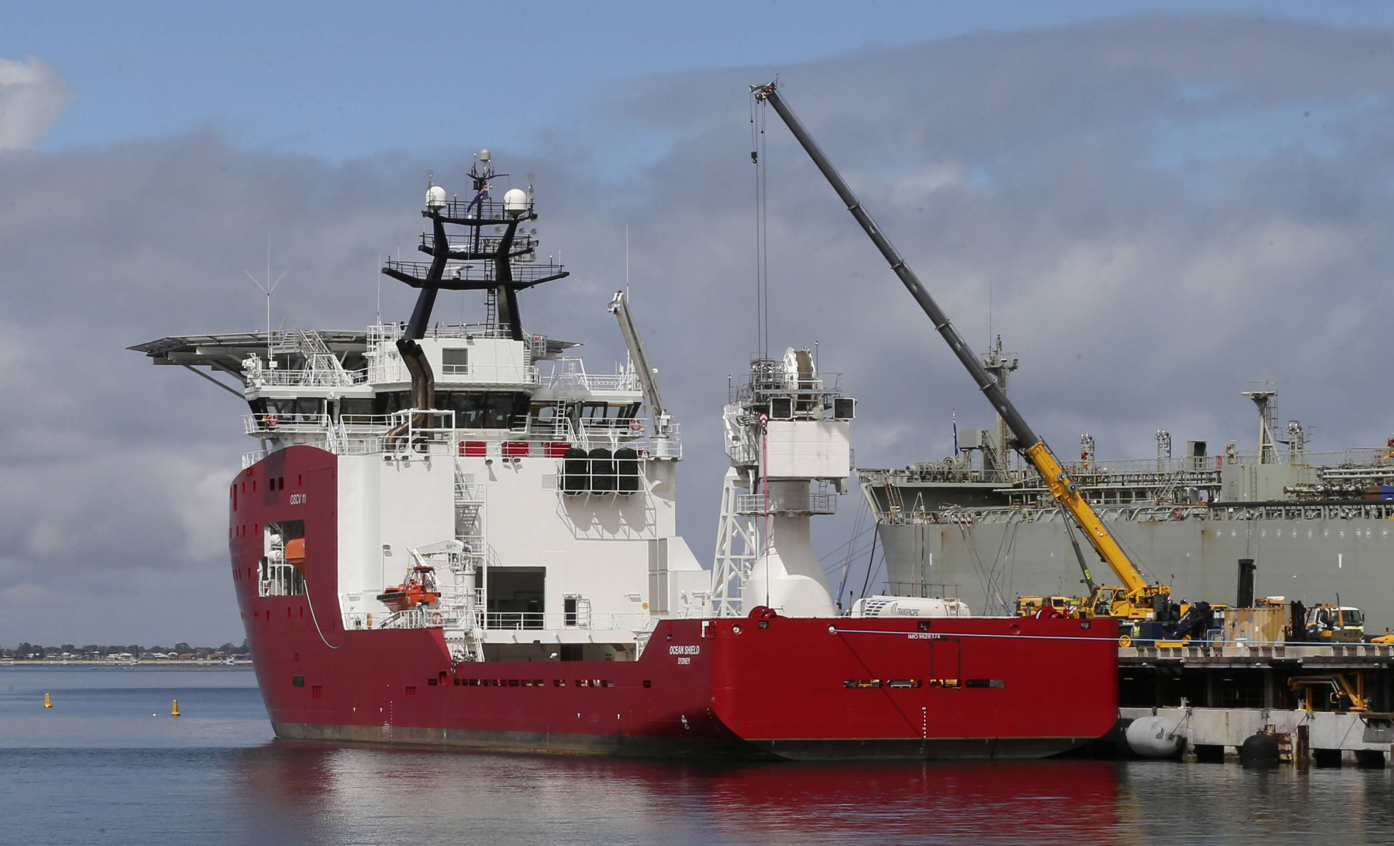 Australian navy ship Ocean Shield was fitted with a towed pinger locator to aid in the search for missing Malaysia Airlines Flight MH370. Investigators searching for the missing Malaysian jet have concluded an area where acoustic signals were detected is not the final resting place of the plane after an unmanned submersible found no trace of it, the search coordinator said Thursday.