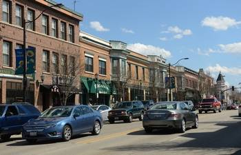 Downtown Libertyville, where some village officials have called for a moratorium on new liquor licenses and land uses that increase the need for parking until more spaces can be found.