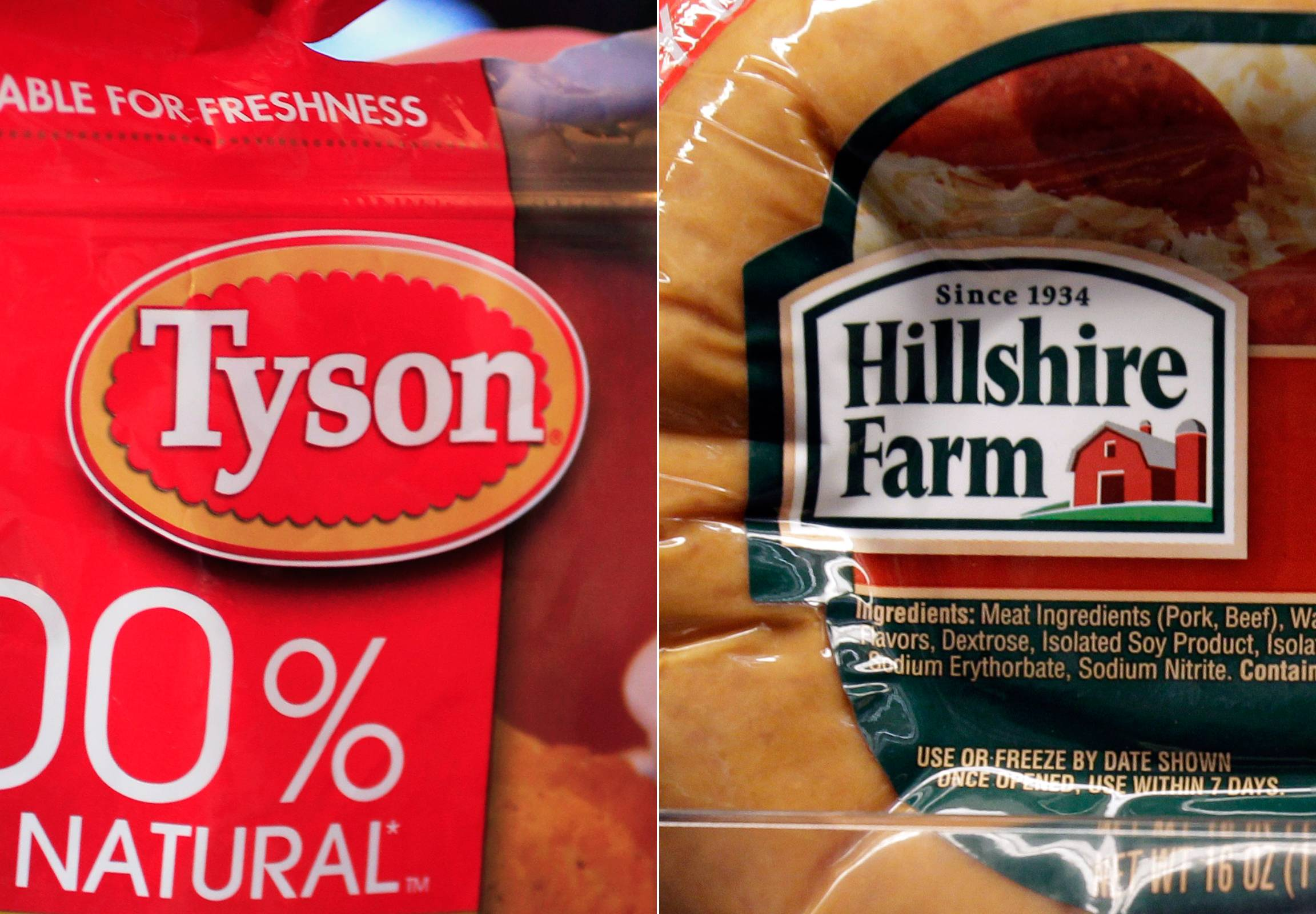 A package of frozen Tyson Chicken Nuggets, left, and a package of Hillshire Farm sausage. Two days after poultry producer Pilgrim's Pride made a $5.58 billion dollar bid for the maker of Ball Park hot dogs and Jimmy Dean sausages, Tyson Foods Co. Thursday sweetened the pot with a $6.2 billion offer.