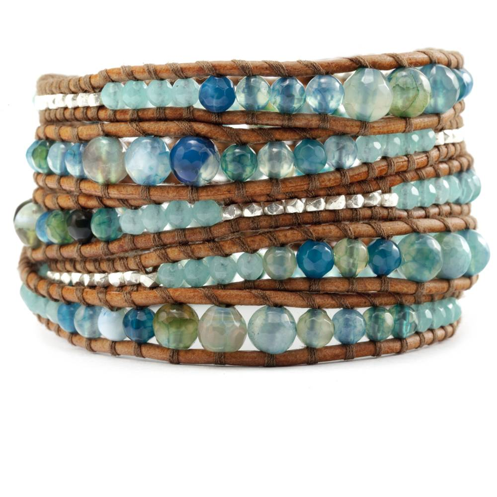 The handmade leather wrap bracelet that goes a few times around the wrist, decorated with small gemstones or silver beads, is a simple design that has been a top seller for Chan Luu.