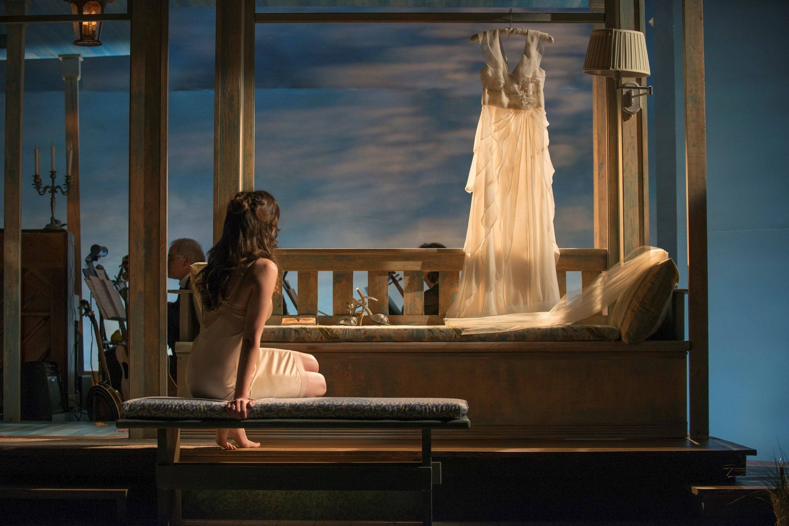 "A young woman (Emily Berman) contemplates her wedding day in the beguiling new musical ""Days Like Today"" running at Writers Theatre in Glencoe"