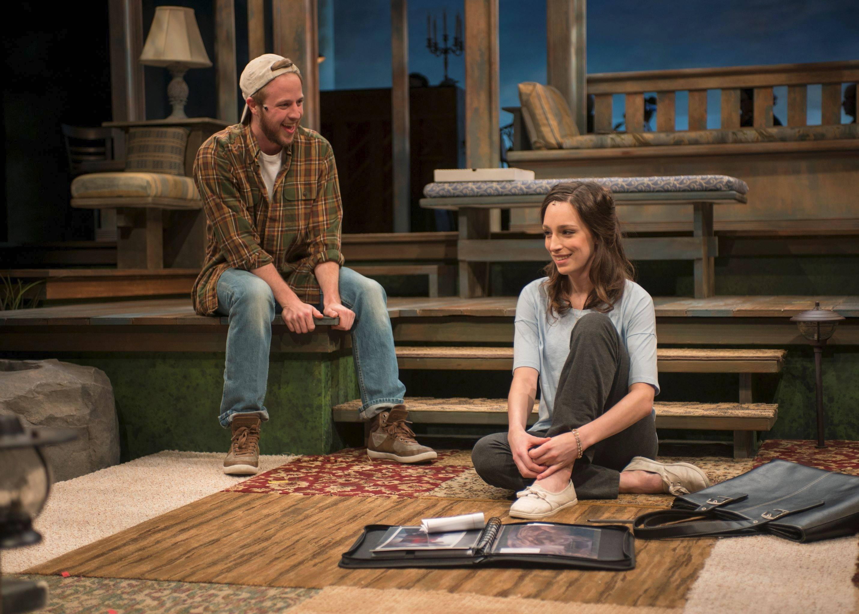 "James (Will Mobley) falls head-over-heels for the recently jilted Tessa (Emily Berman) in ""Days Like Today,"" in its world premiere at Writers Theatre under director Michael Halberstam."