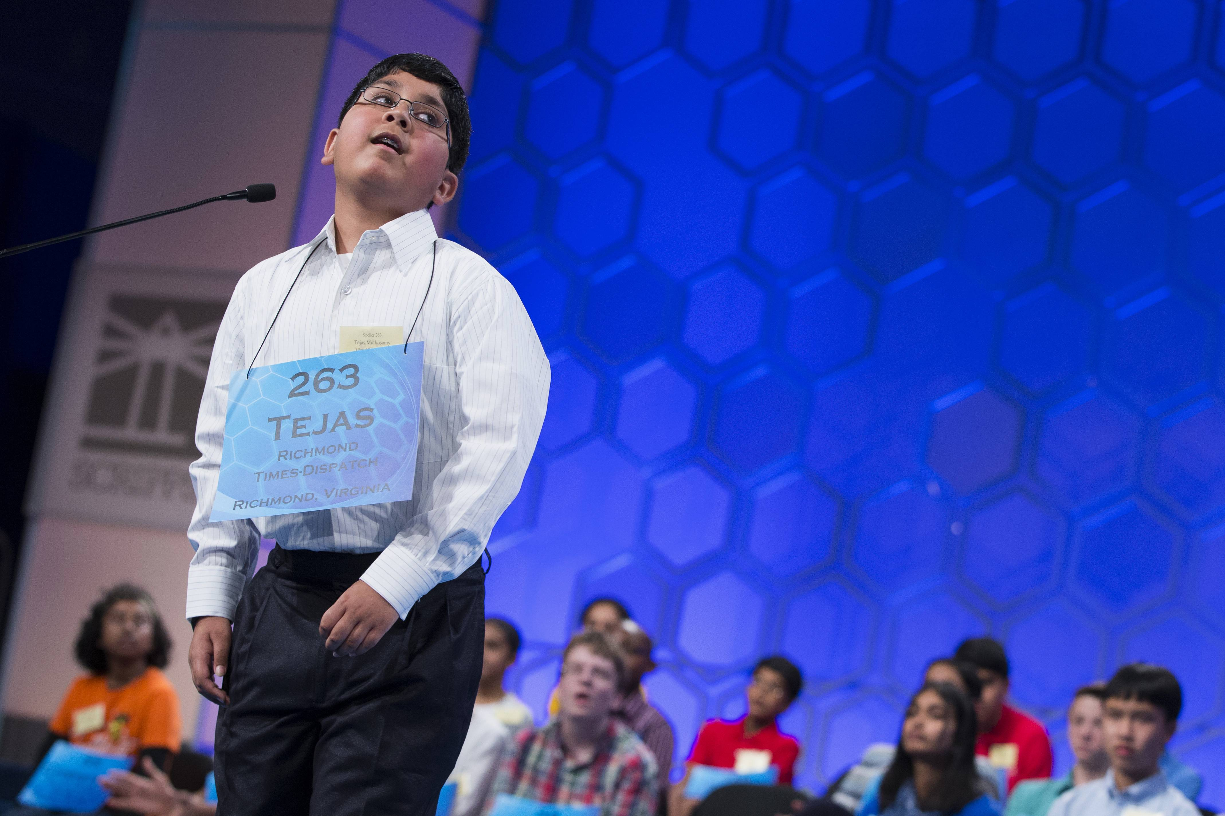 Tejas Muthusamy, 11, of Glen Allen, Virginia, is the youngest speller in the spelling bee finals.