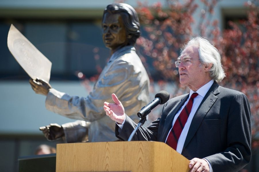 K. Michael Welch, president and CEO of Rosalind Franklin University of Medicine and Science in North Chicago, addresses the crowd Thursday during the unveiling of a bronze statue of the university's namesake.