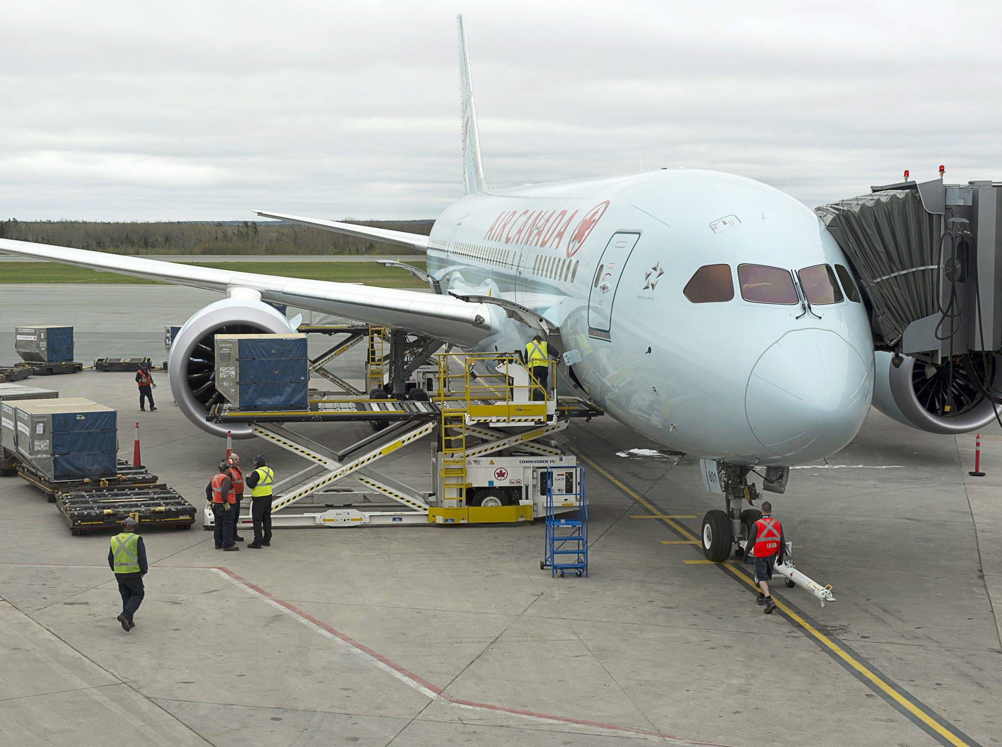 Air Canada's Boeing 787 Dreamliner jet arrives at Halifax Stanfield International Airport in Enfield, Nova Scotia. The Federal Aviation Administration on Wednesday cleared Boeing Co.'s 787 to fly far over the ocean, up to 5 1/2 hours away from the nearest emergency landing site.