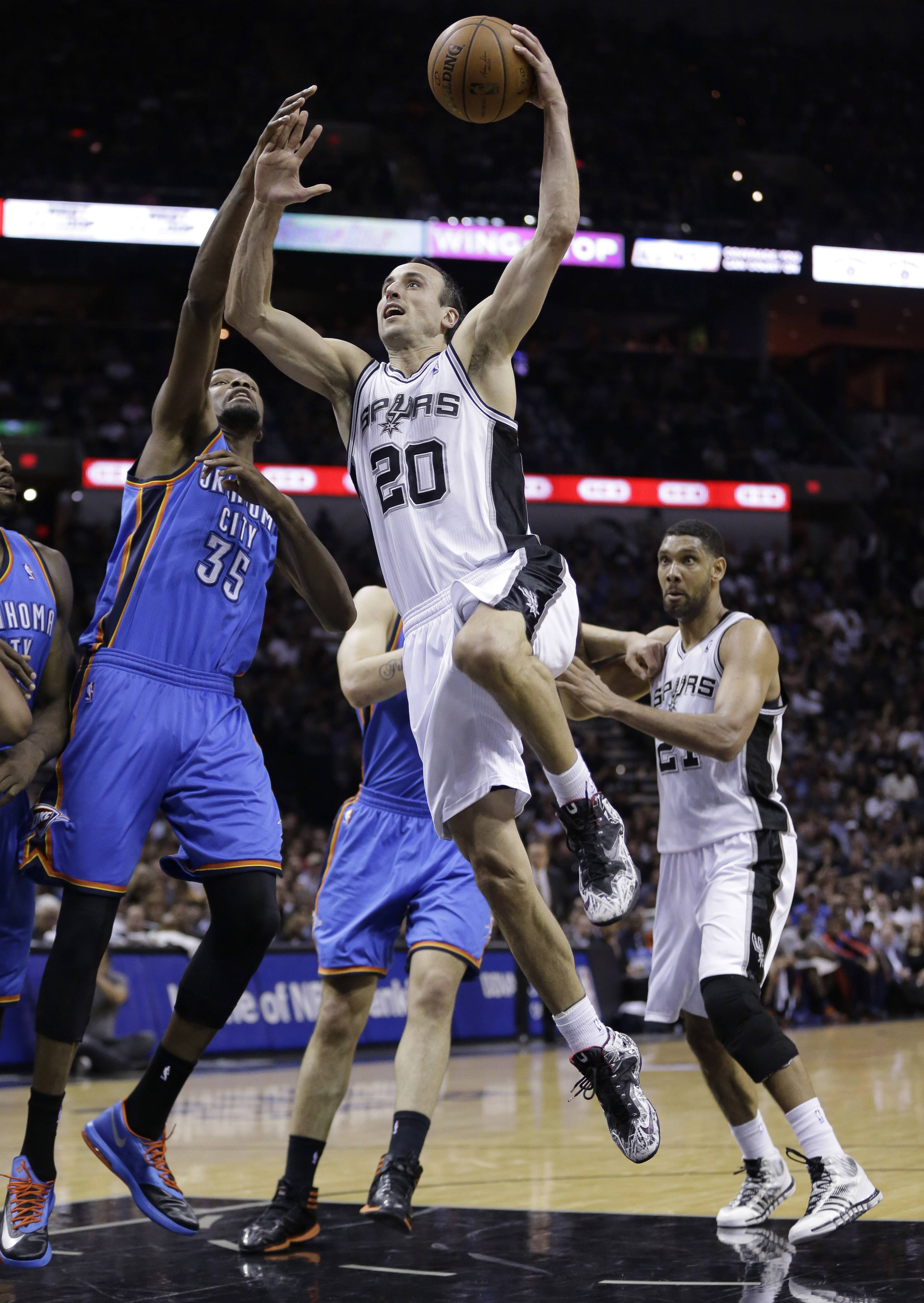 Manu Ginobili scored 19 points and the San Antonio Spurs rolled to a 117-89 victory over the Oklahoma City Thunder on Thursday night to take a 3-2 lead in the Western Conference finals.