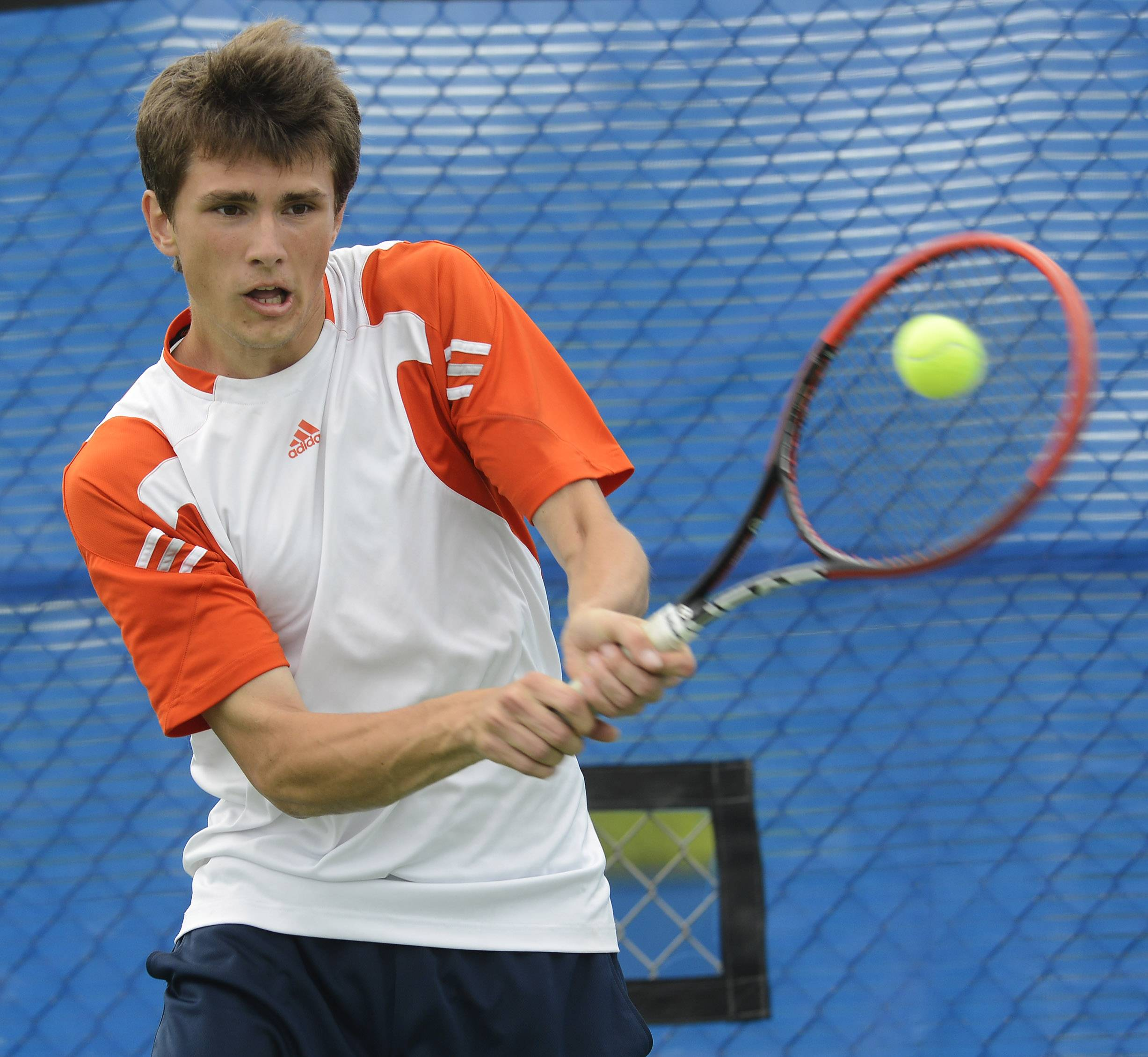 Alan Fijalkowski of Buffalo Grove competes during Day 1 of the boys tennis state tournament on Thursday at Hoffman Estates.