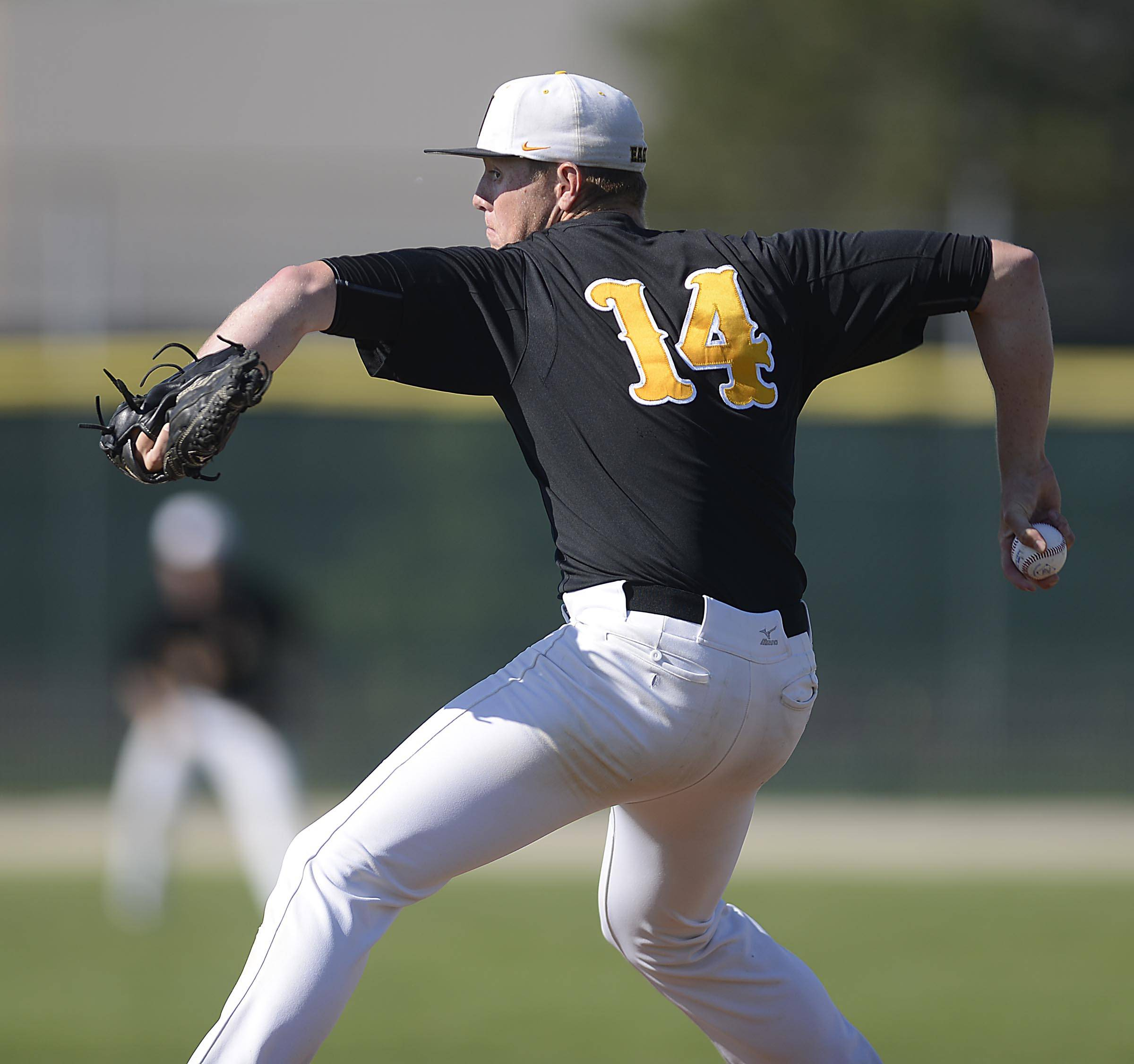 Jacobs starting pitcher Reilly Peltier against Cary-Grove Thursday in the Class 4A Crystal Lake South regional.