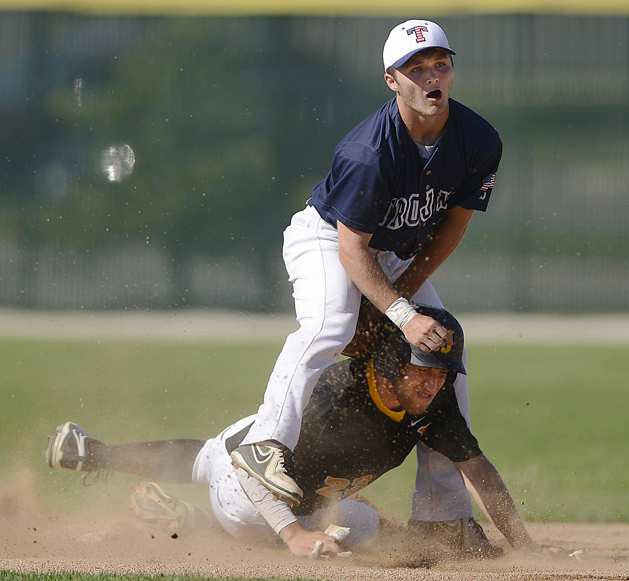 Jacobs' Ben Murray is forced out at second by Cary-Grove's Matt Sutherland Thursday in the Class 4A Crystal Lake South regional. Murray broke up the double play and teammate Grant Kale was safe at first.