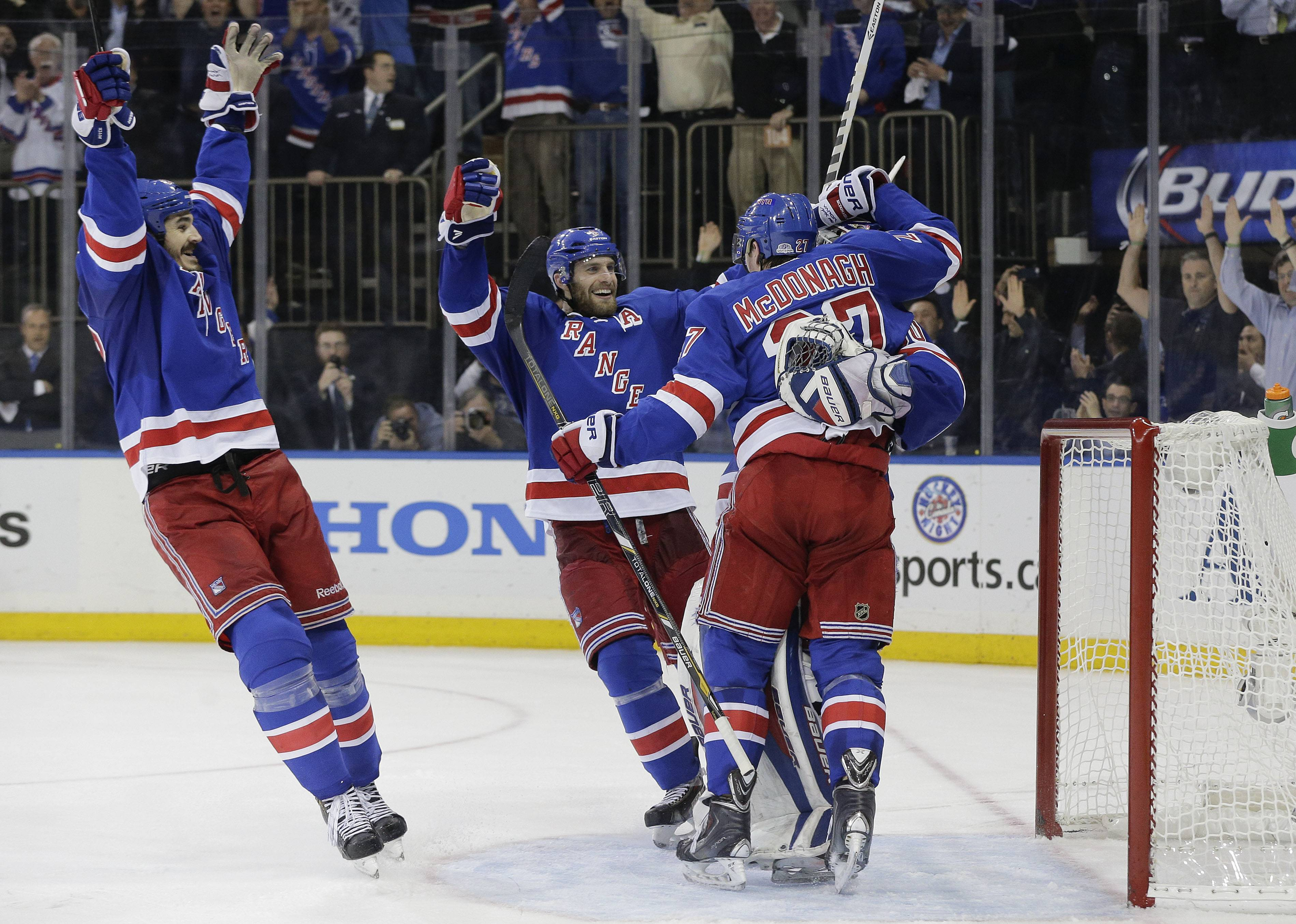 Dominic Moore scored in the second period, Henrik Lundqvist bounced back from his worst performance in the playoffs and the New York Rangers beat the Montreal Canadiens 1-0 on Thursday night to advance to the Stanley Cup finals. The Rangers are in the championship round for the first time since winning it all in 1994.