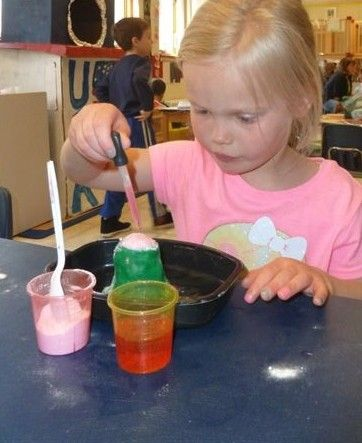 Clara Schmehl enjoys STEM activities at St. Mark Preschool and Enrichment Center in Mount Prospect.