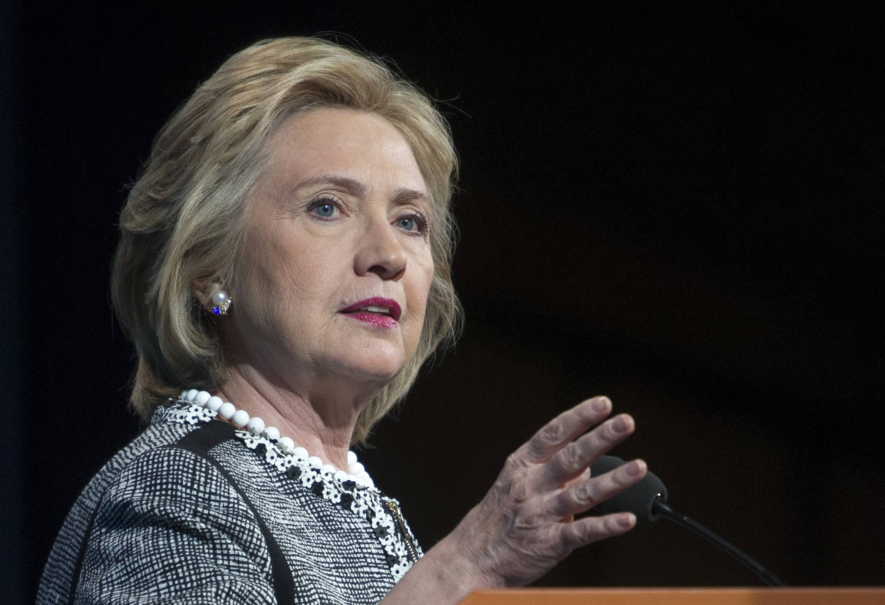 Former Secretary of State Hillary Rodham Clinton speaks in Washington.
