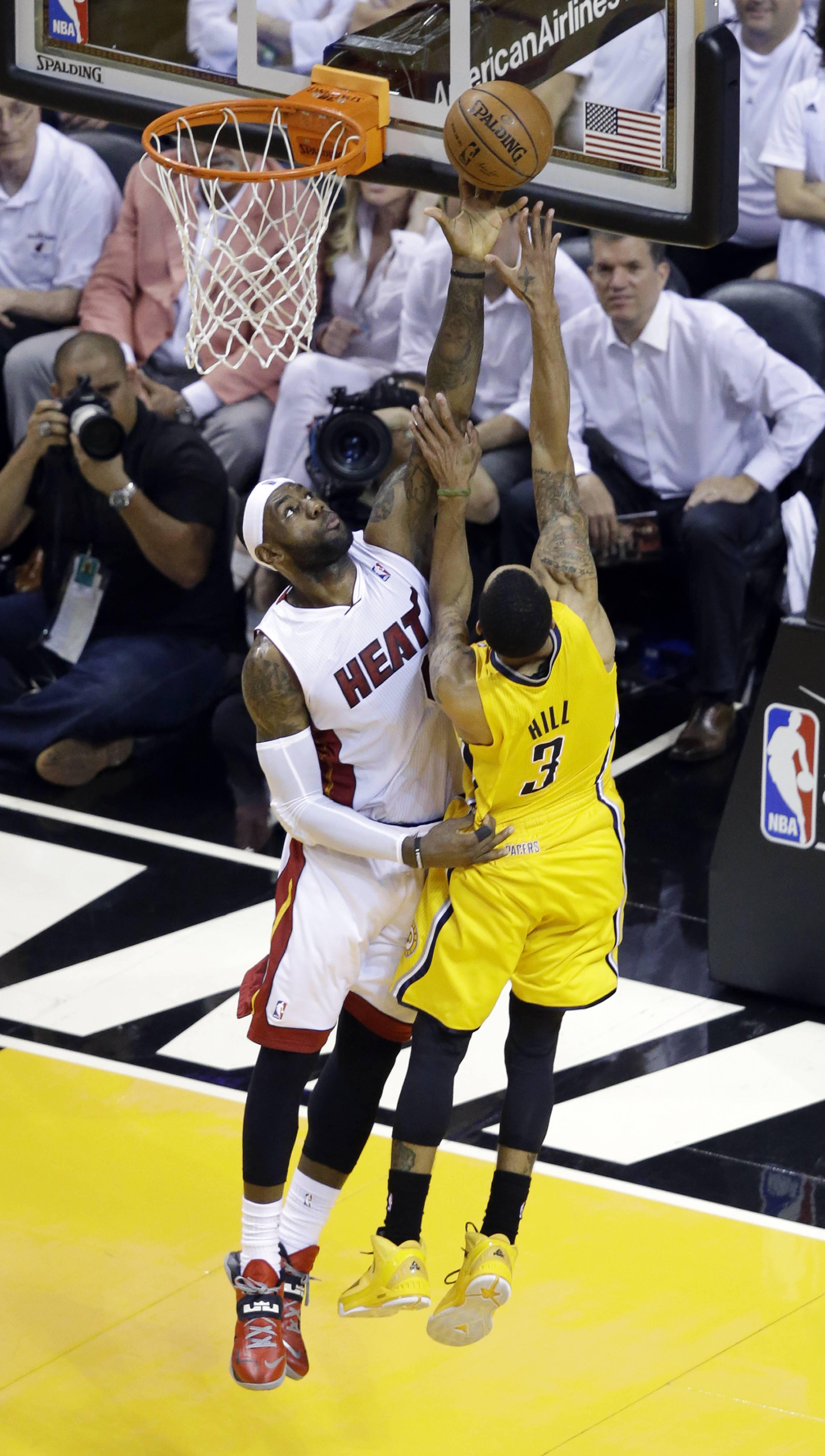 The Miami Heat became the third franchise in NBA history to reach the title series in four consecutive seasons, a laugher of a conference-title finale getting them there again Friday night. LeBron James and Chris Bosh each scored 25 points, and Miami eliminated the Pacers for the third straight year with a 117-92 romp in Game 6 of the East championship series.