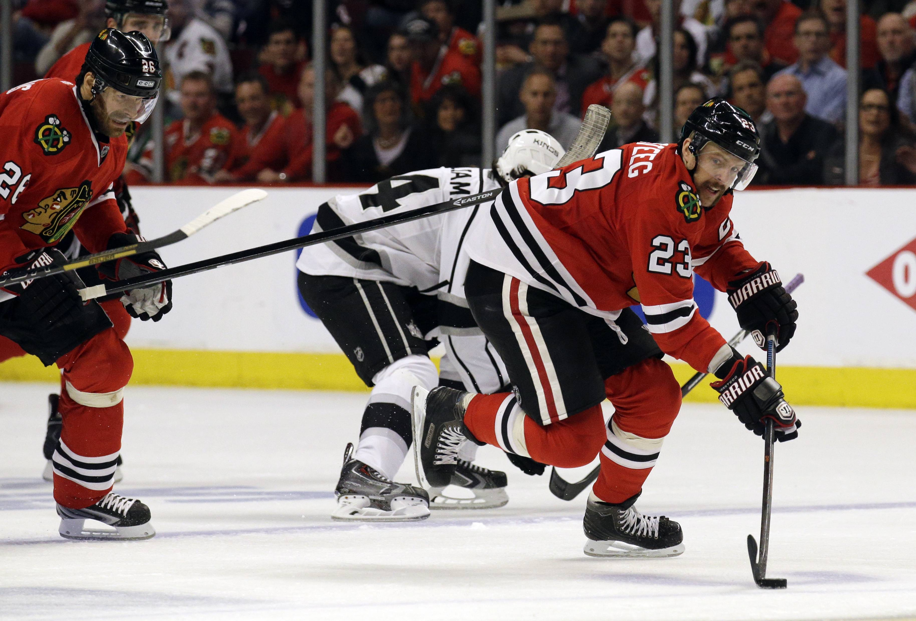 The Blackhawks' Kris Versteeg has struggled this postseason, leaving many to wonder if there is any benefit to having him in the lineup right now.