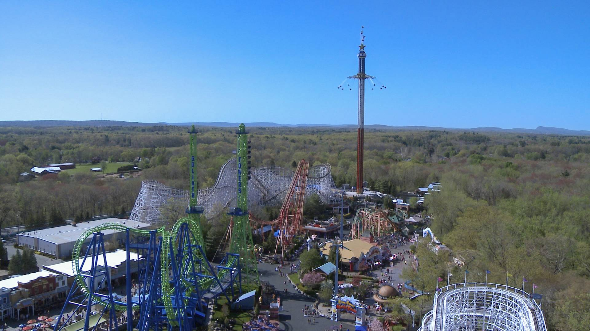 The New England SkyScreamer is the tallest swing ride at Six Flags New England in Agawam, Mass.