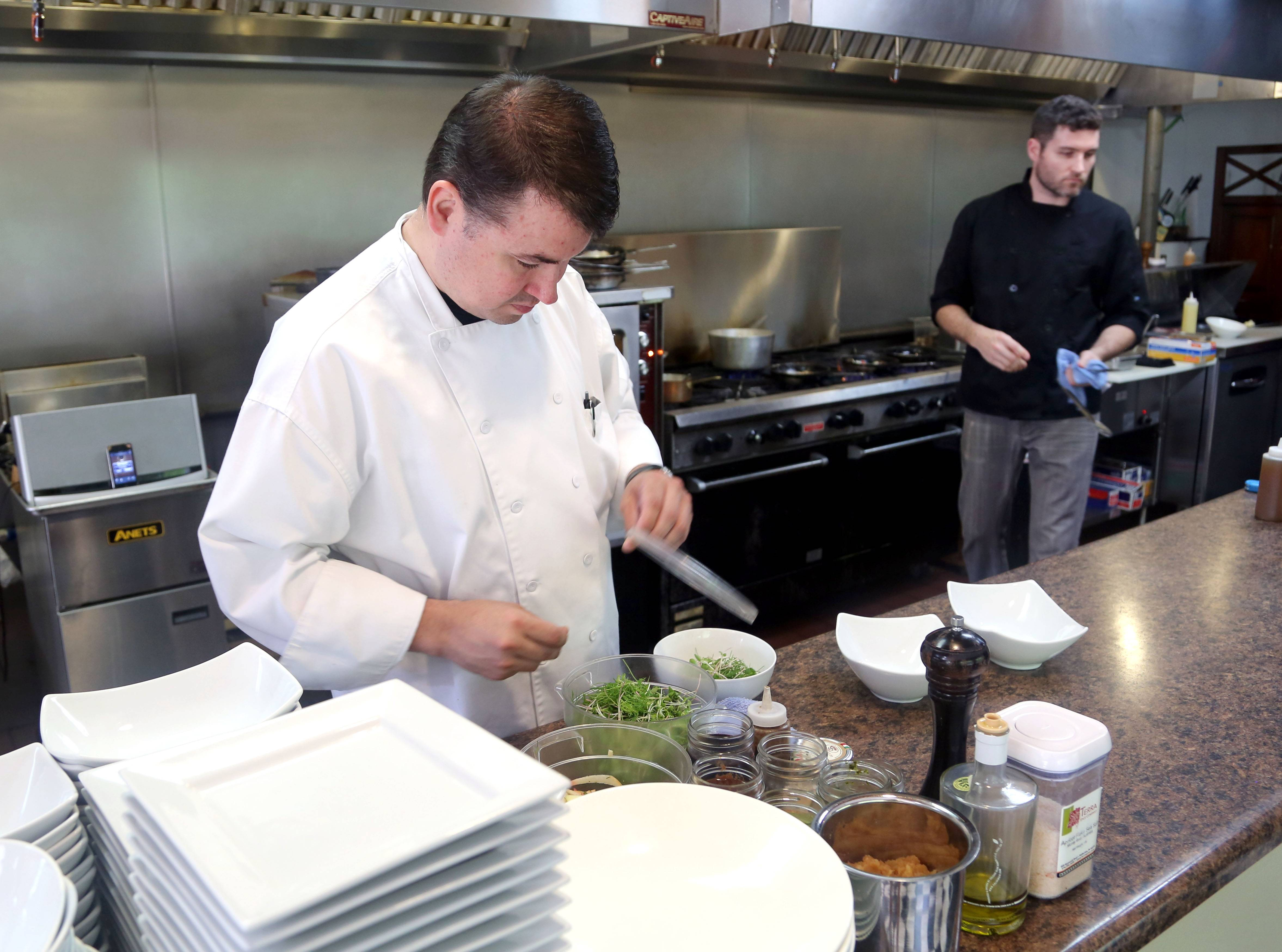 Chef/owner Rick Starr prepares seasonal, farm-raise dishes at Ad-Lib Geo Cafe in Lindenhurst.