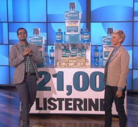 "Schaumburg resident Anip Patel, winner of the ""$21,000 Listerine Challenge"" talks with Ellen on the Ellen Degeneres Show."