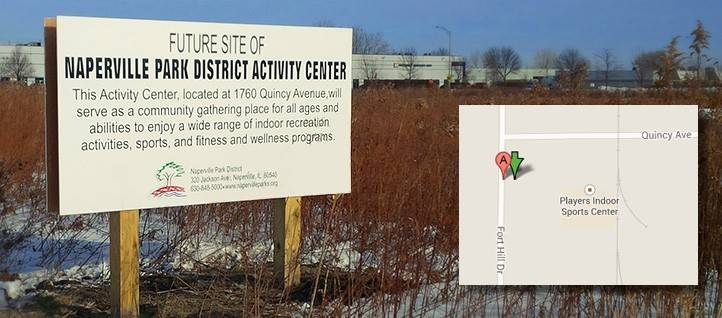 Naperville Park District officials say a proposed indoor activity center to be built at the southeast corner of Quincy Avenue and Fort Hill Drive will be smaller than planned to ensure the project comes in on budget.