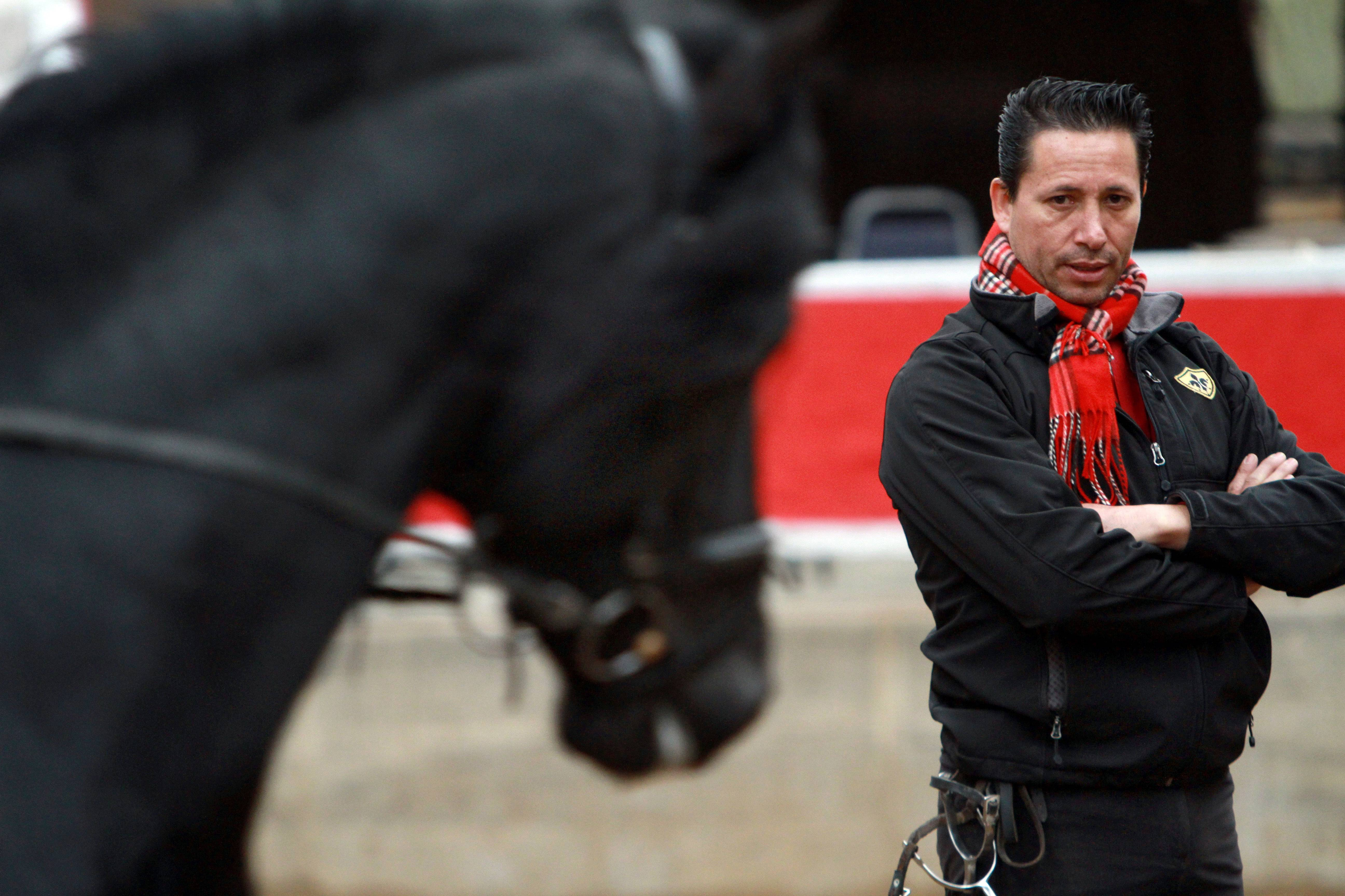 Mario Contreras of Elgin keeps a close eye on an Andalusian stallion at his training center in Gilberts.