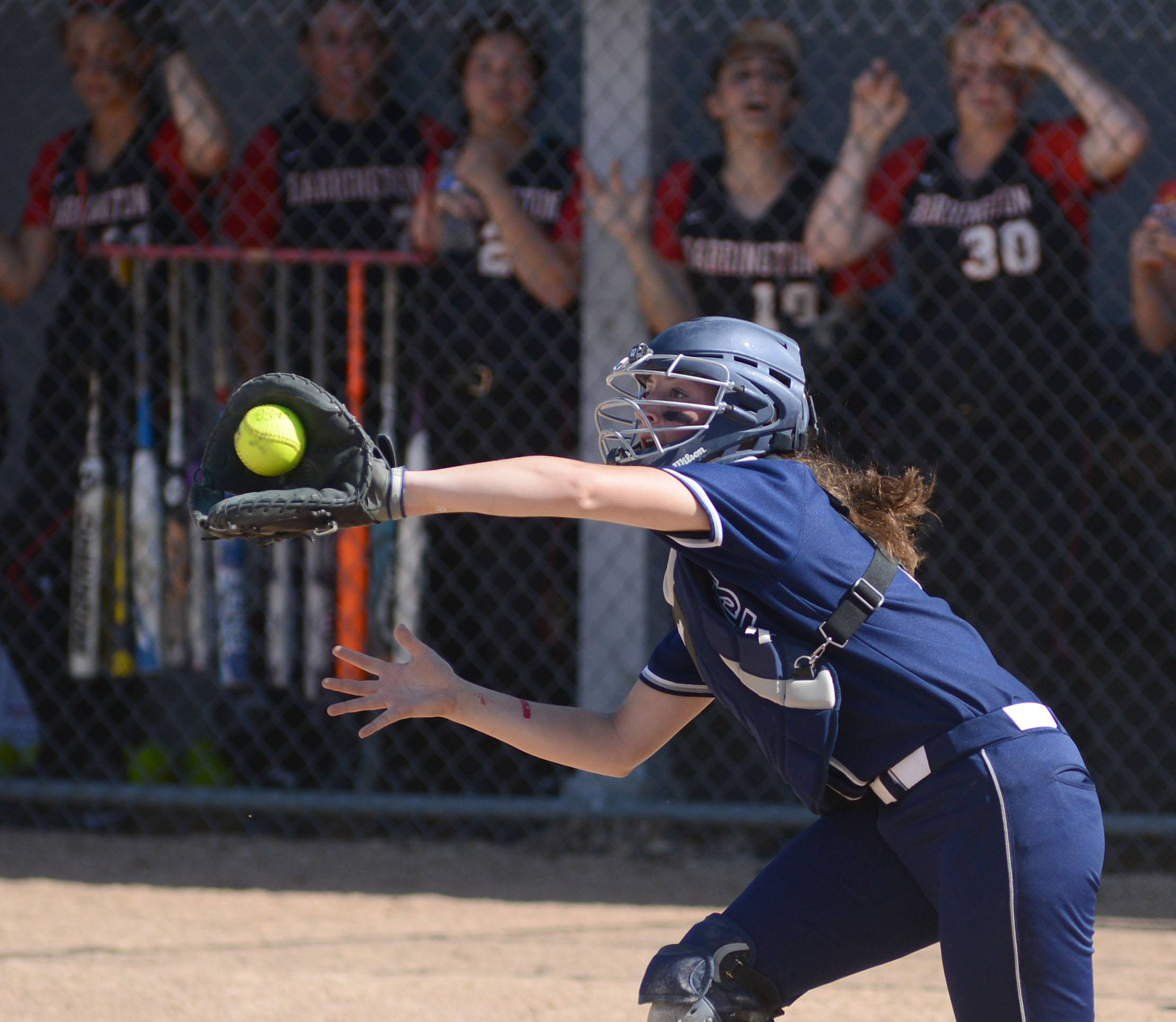 Cary-Grove's Grace Pilz catches an out for Barrington in the second inning of the Class 4A girls softball regional championship in Cary on Friday, May 30.