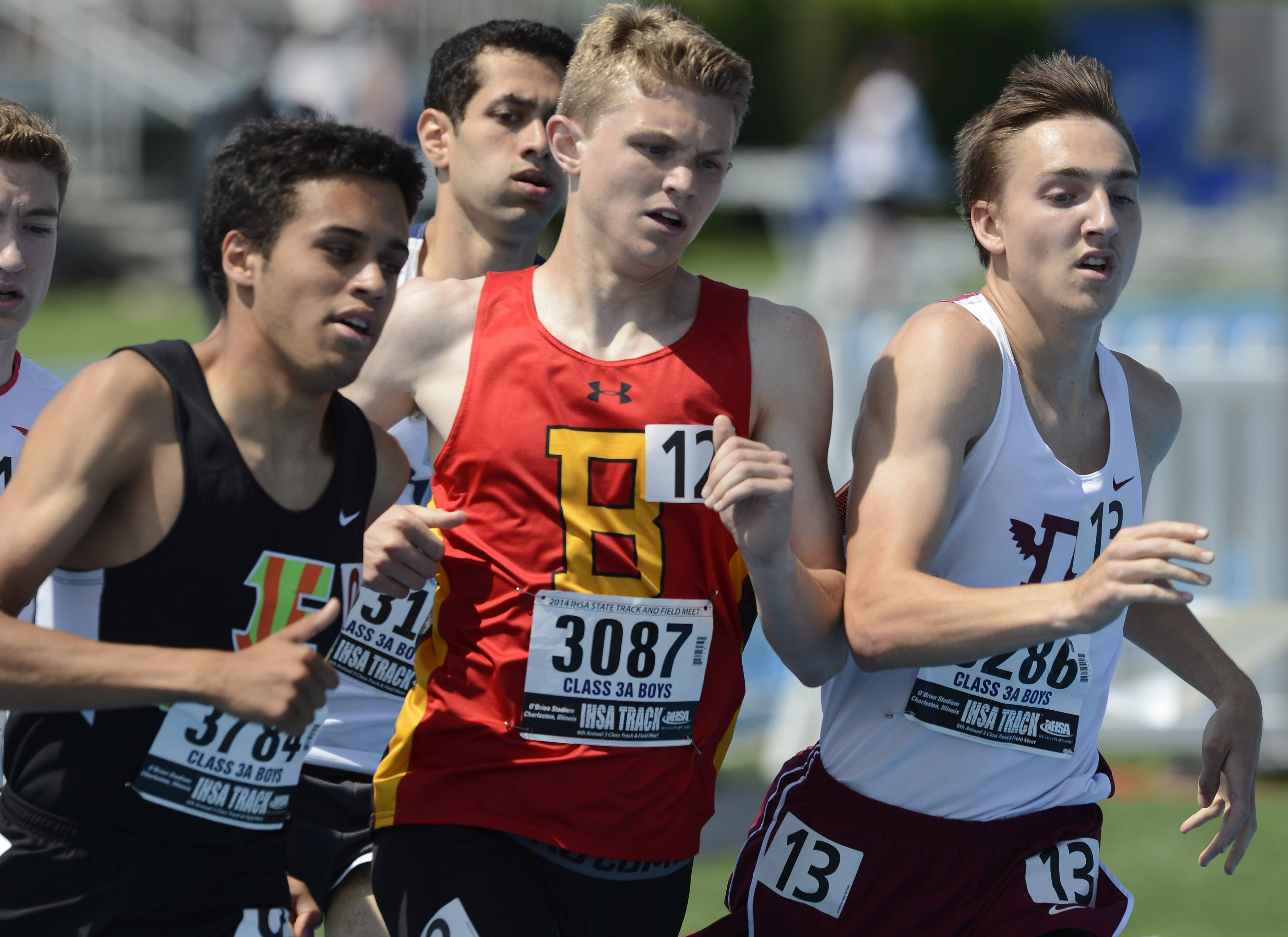 Batavia's Ryan Wieties gets squeezed in the pack in the 800-meter run during the Class 3A boys track and field state preliminaries in Charleston on Friday.