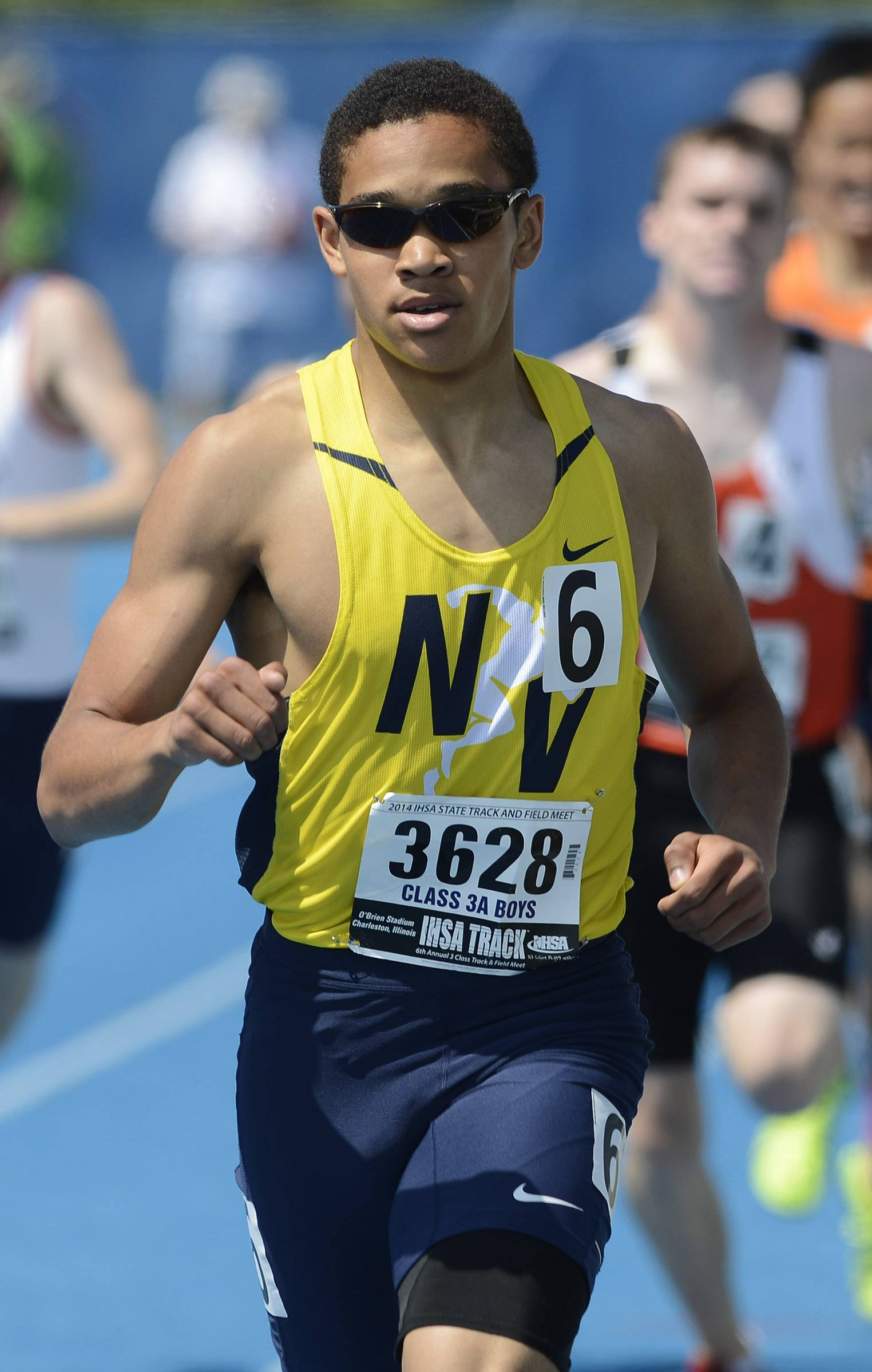 Neuqua Valley's Ty Moss crosses the finish line in the 800-meter run during the boys class 3A state track and field preliminaries in Charleston Friday.