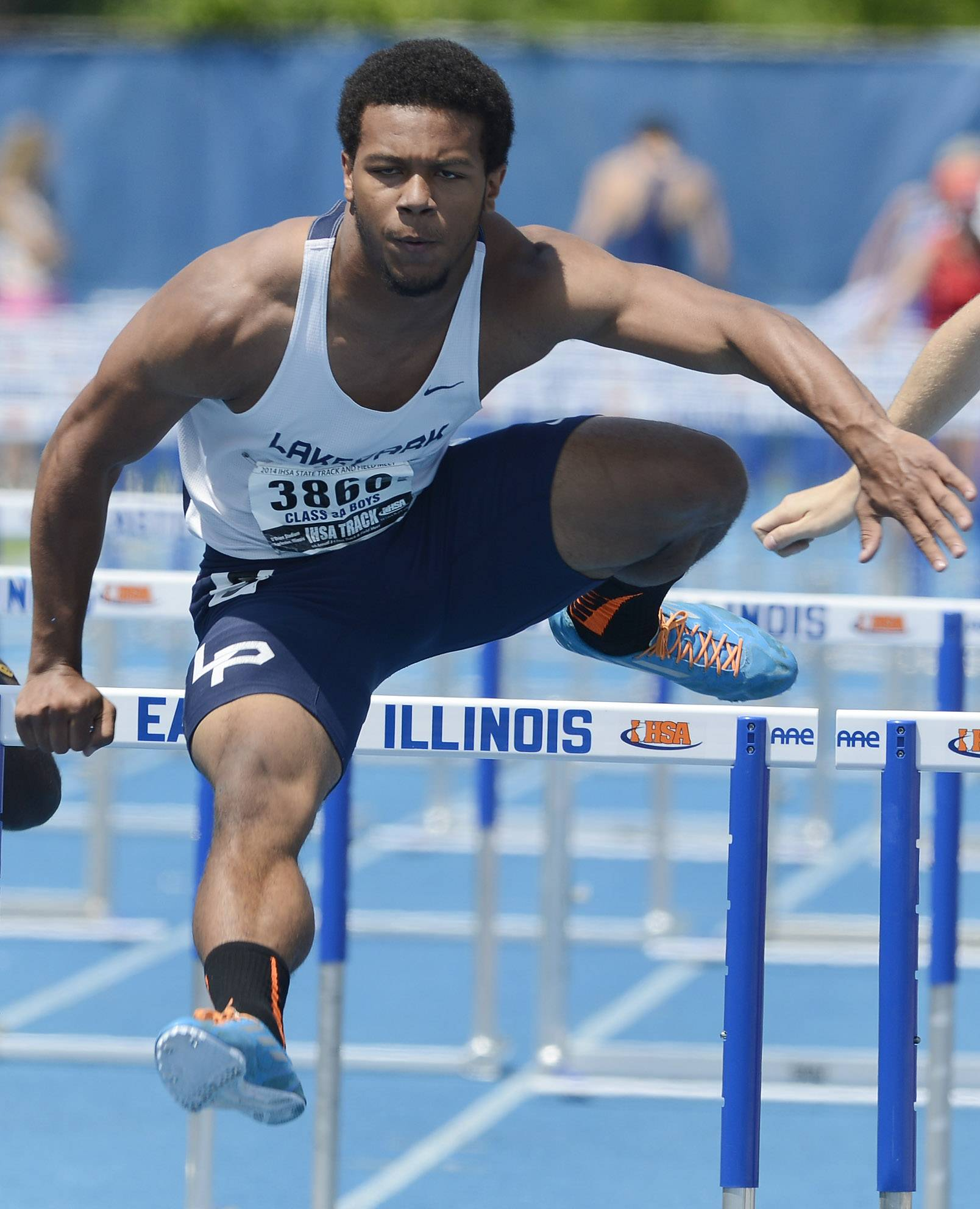 Lake Park's Antonio Shenault clears the last hurdle while competing in the 110-meter high hurdles during the boys Class 3A state track and field preliminaries in Charleston Friday.
