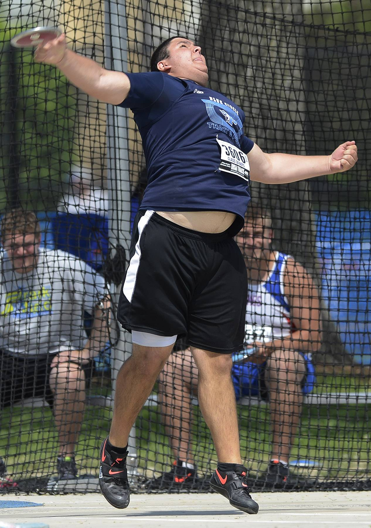 Prospect's Justin Phillips throws while competing in the discus during the boys Class 3A state track and field preliminaries in Charleston Friday.