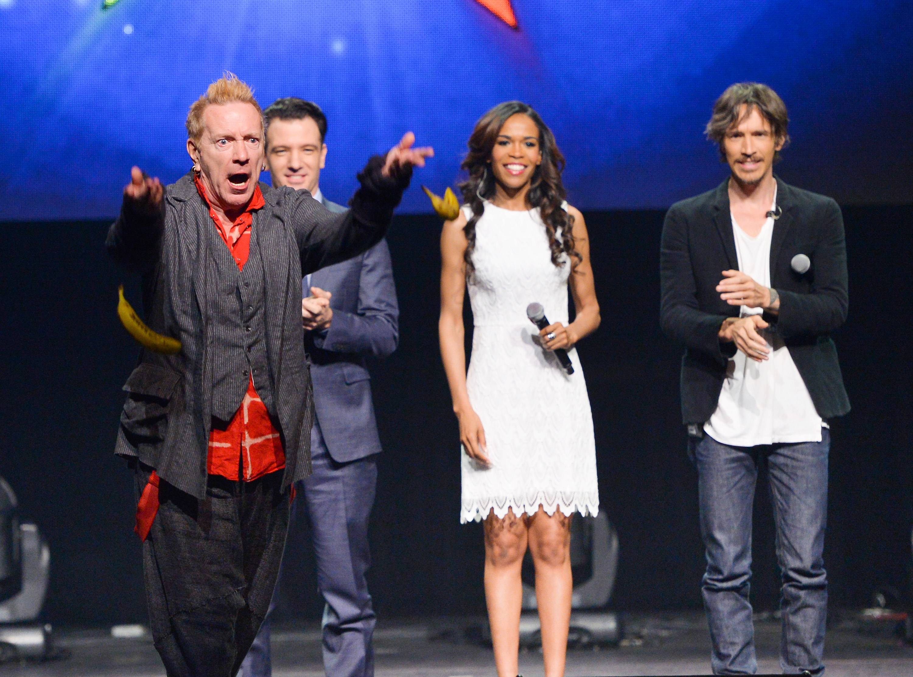 "From left, singer John Rotten Lydon throws bananas at the media, JC Chasez, Michelle Williams and Brandon Boyd look on, at the ""Jesus Christ Superstar"" arena spectacular press conference and press performance to announce a North American arena tour in New York. The new arena version of ""Jesus Christ Superstar"" has abruptly canceled its 54-city tour just days before its launch in New Orleans."