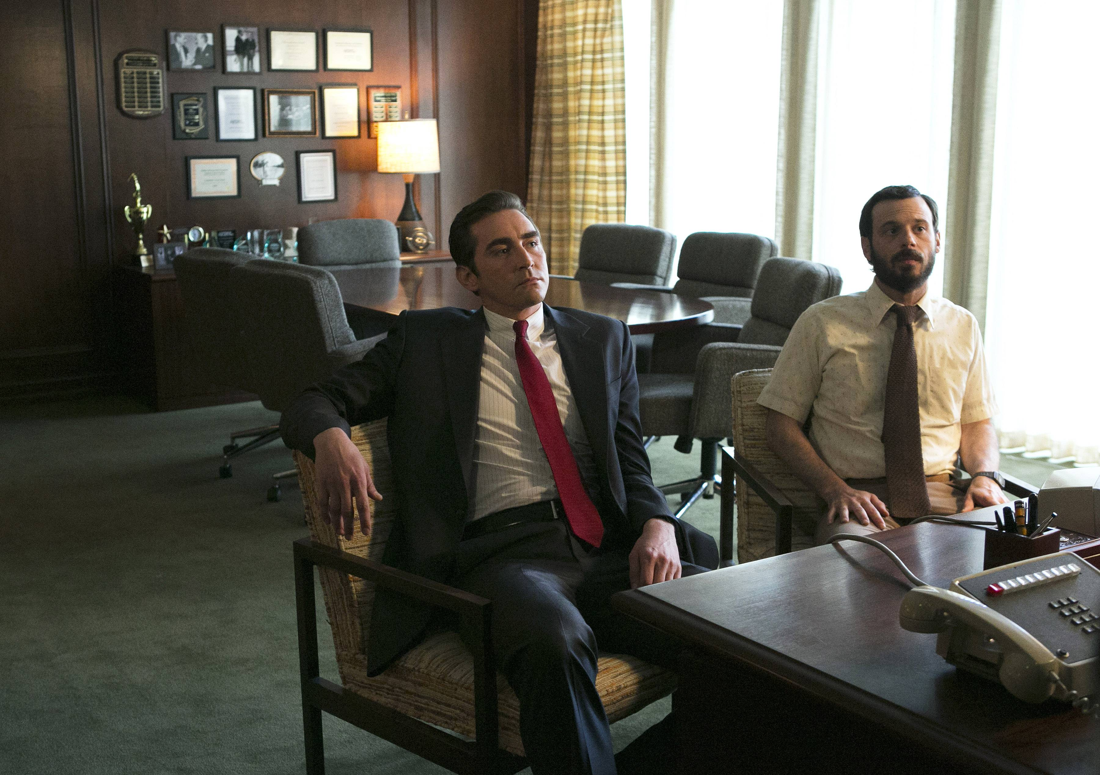 "Associated Press/AMCLee Pace, left, as Joe MacMillan and Scoot McNairy as Gordon Clark, in a scene from the television series, ""Halt and Catch Fire,"" season 1. The drama, which debuts Sunday, June 1, 2014, is set during the 1980s race to develop and market personal computers."