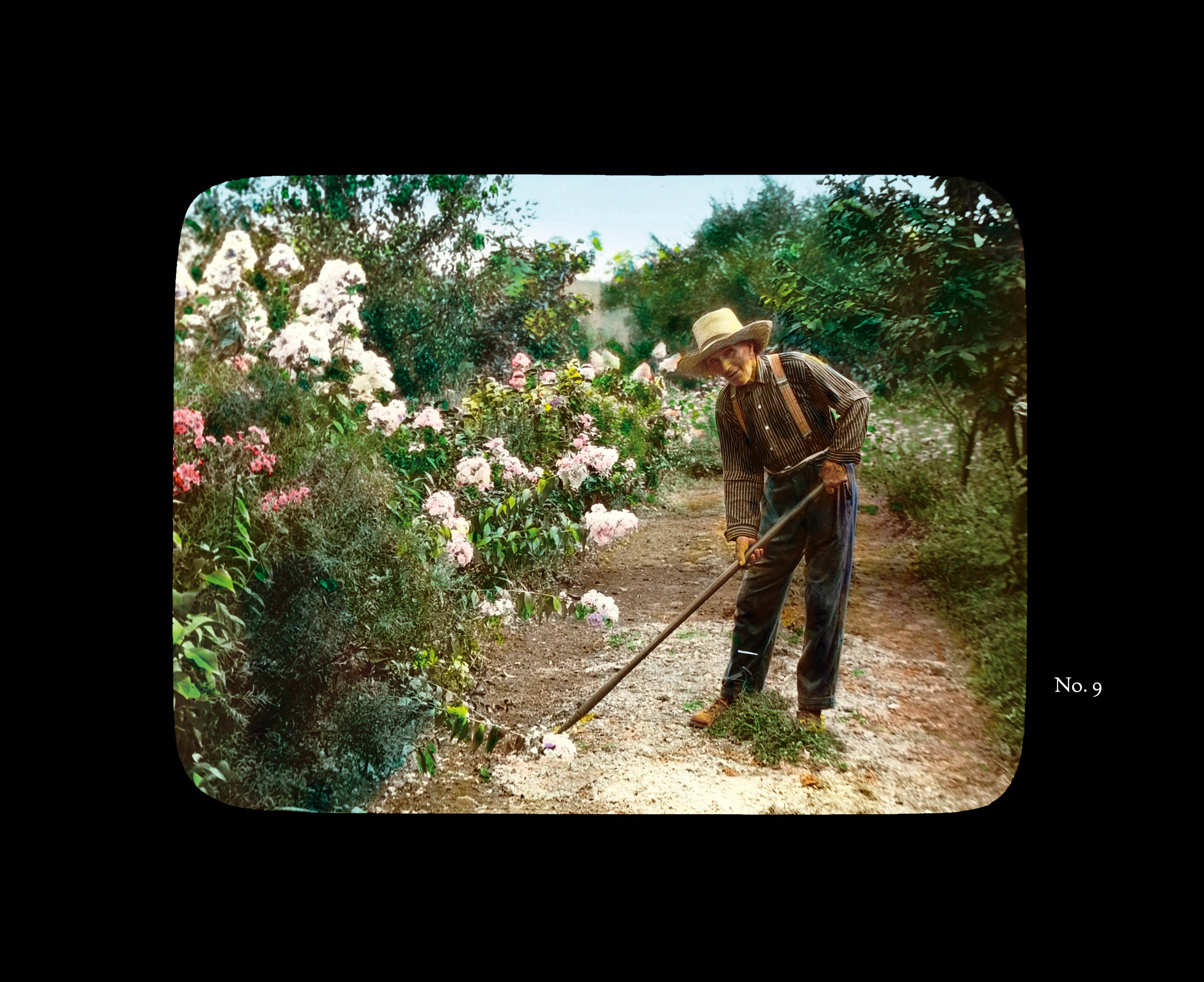 "This hand-tinted photograph of the gardener for the estate of James and Elizabeth Metcalfe in Bedford Hills, N.Y., is included in the exhibition ""Groundbreakers: Great American Gardens and The Women Who Designed Them"" at The New York Botanical Garden."