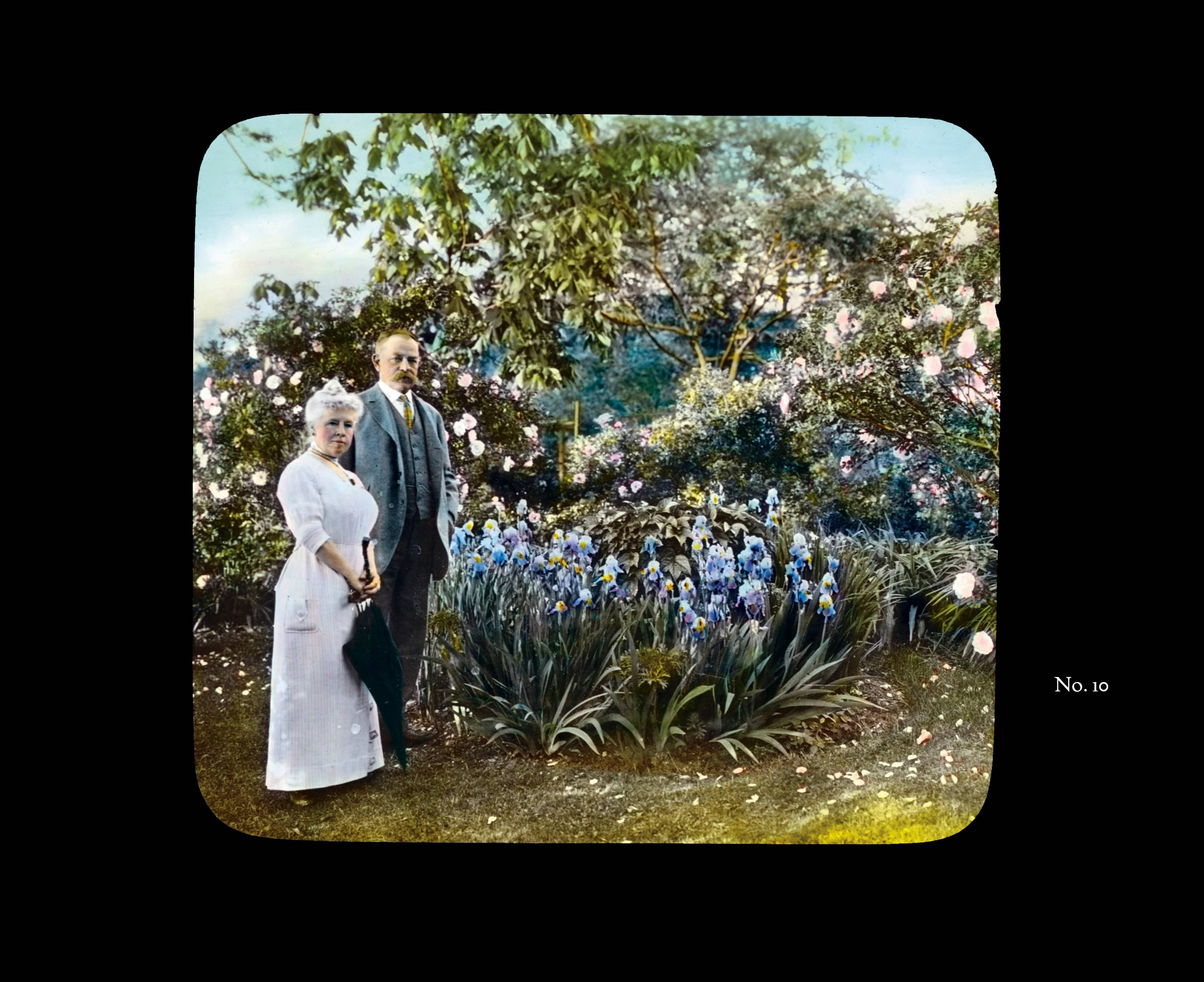 This hand-tinted photograph of Admiral Aaron Ward and his wife, Elizabeth, in Roslyn Harbor, N.Y., was taken by photographer Frances Benjamin Johnston.