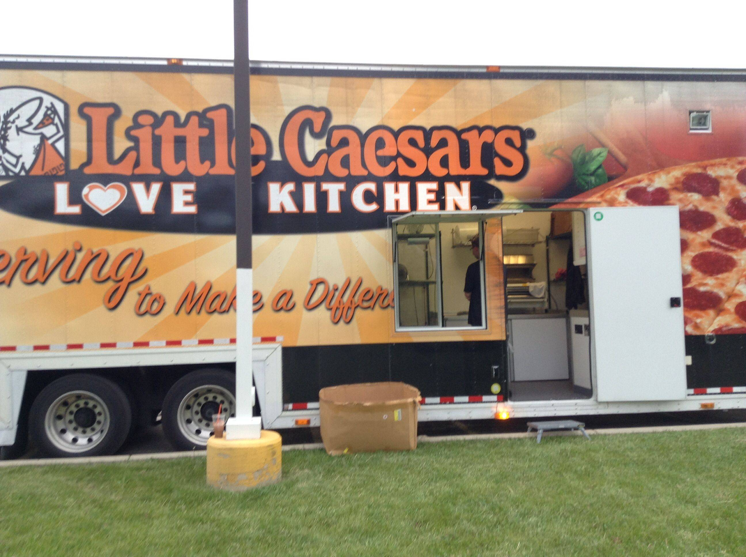 The Little Caesars Love Kitchen delivers food Sunday to Emmaus House in Lake Zurich.