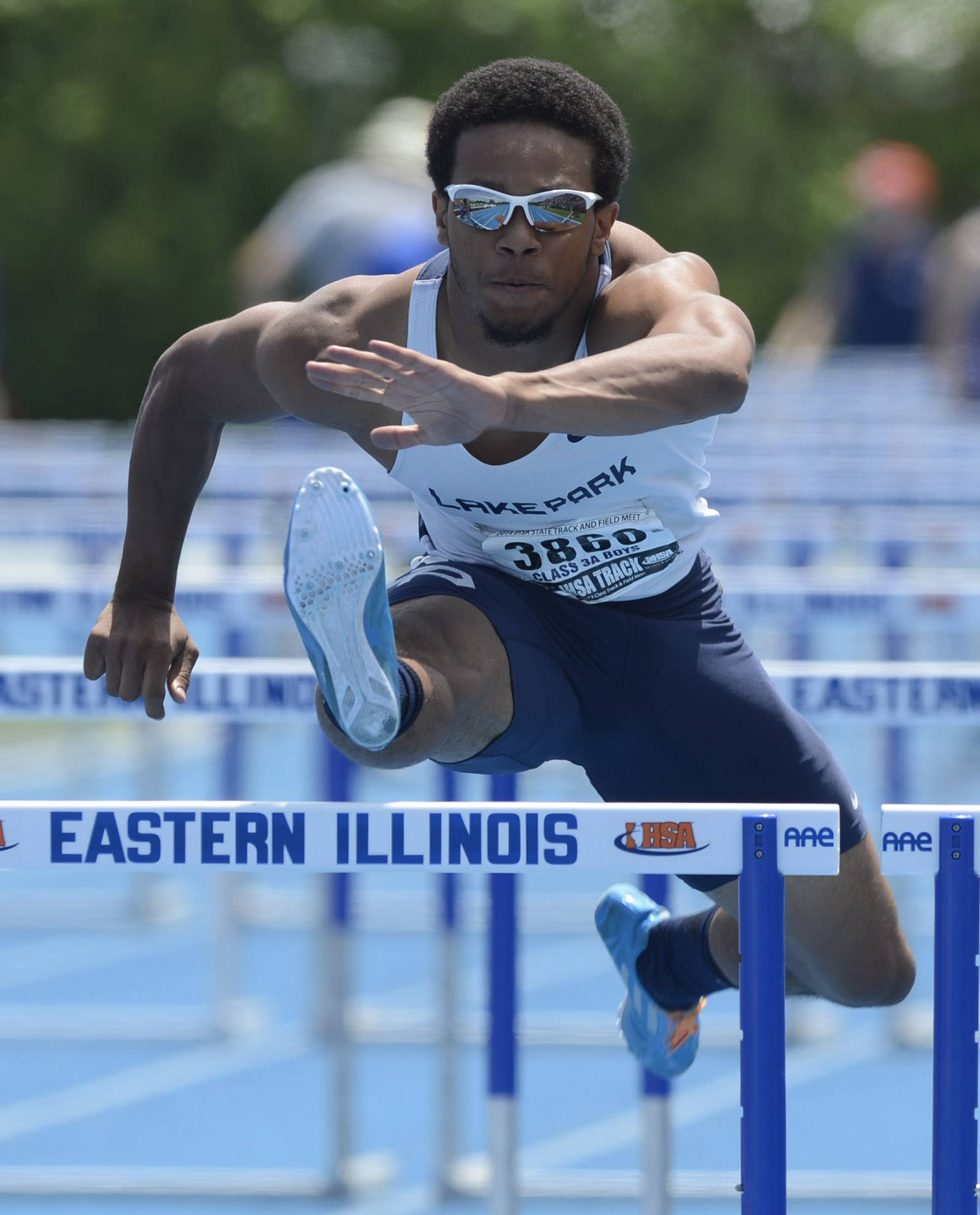Lake Park's Antonio Shenault clears the final hurdle in the 110-meter high hurdles during the boys class 3A state track and field finals in Charleston Saturday.