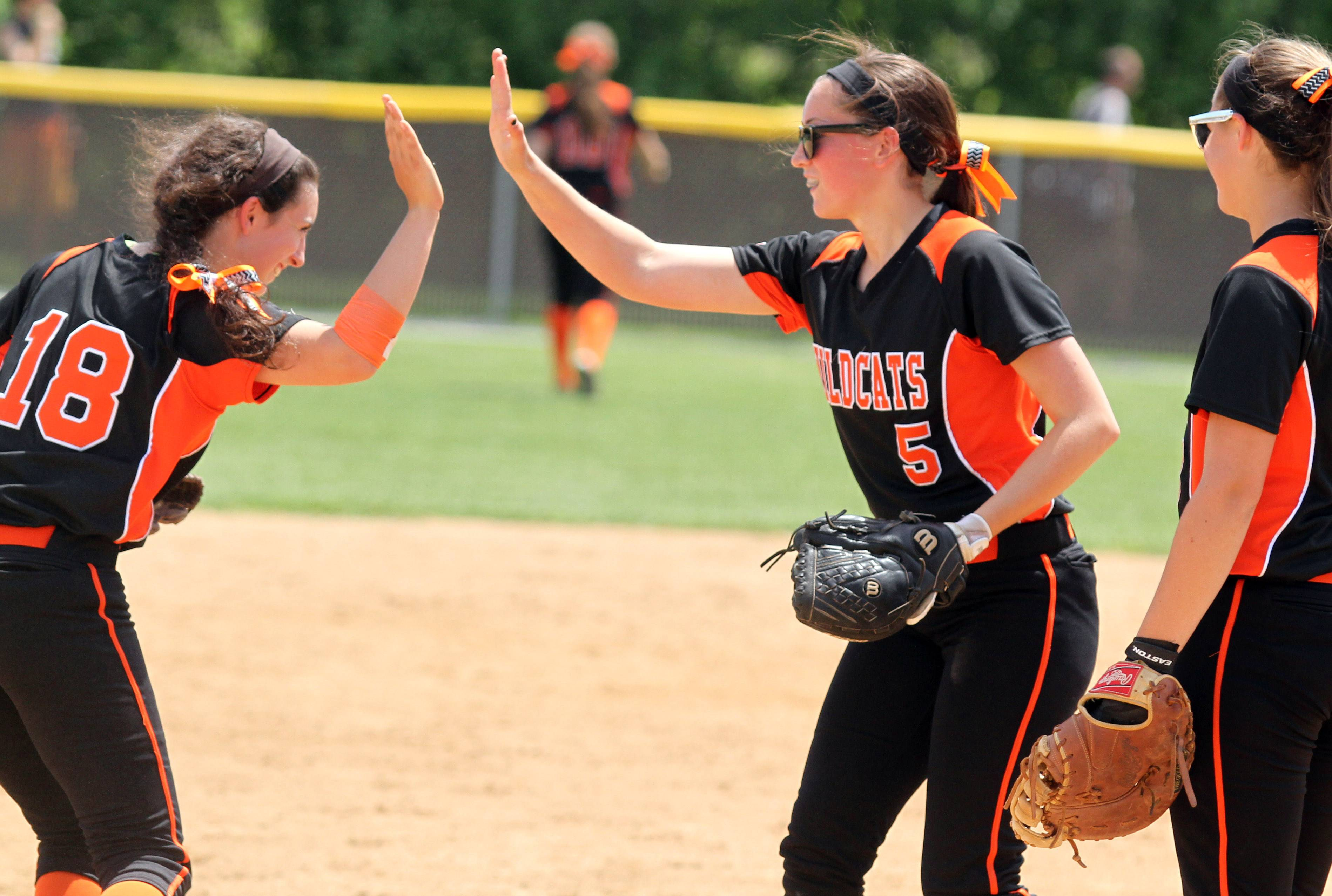 Libertyville pitcher Haley Alban, right, gets a hand from third baseman Jamie Stevens after facing Carmel.